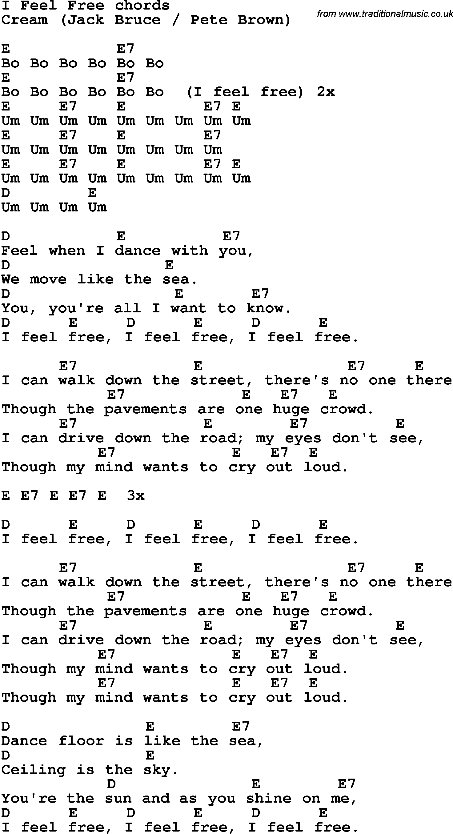 Song lyrics with guitar chords for I Feel Free