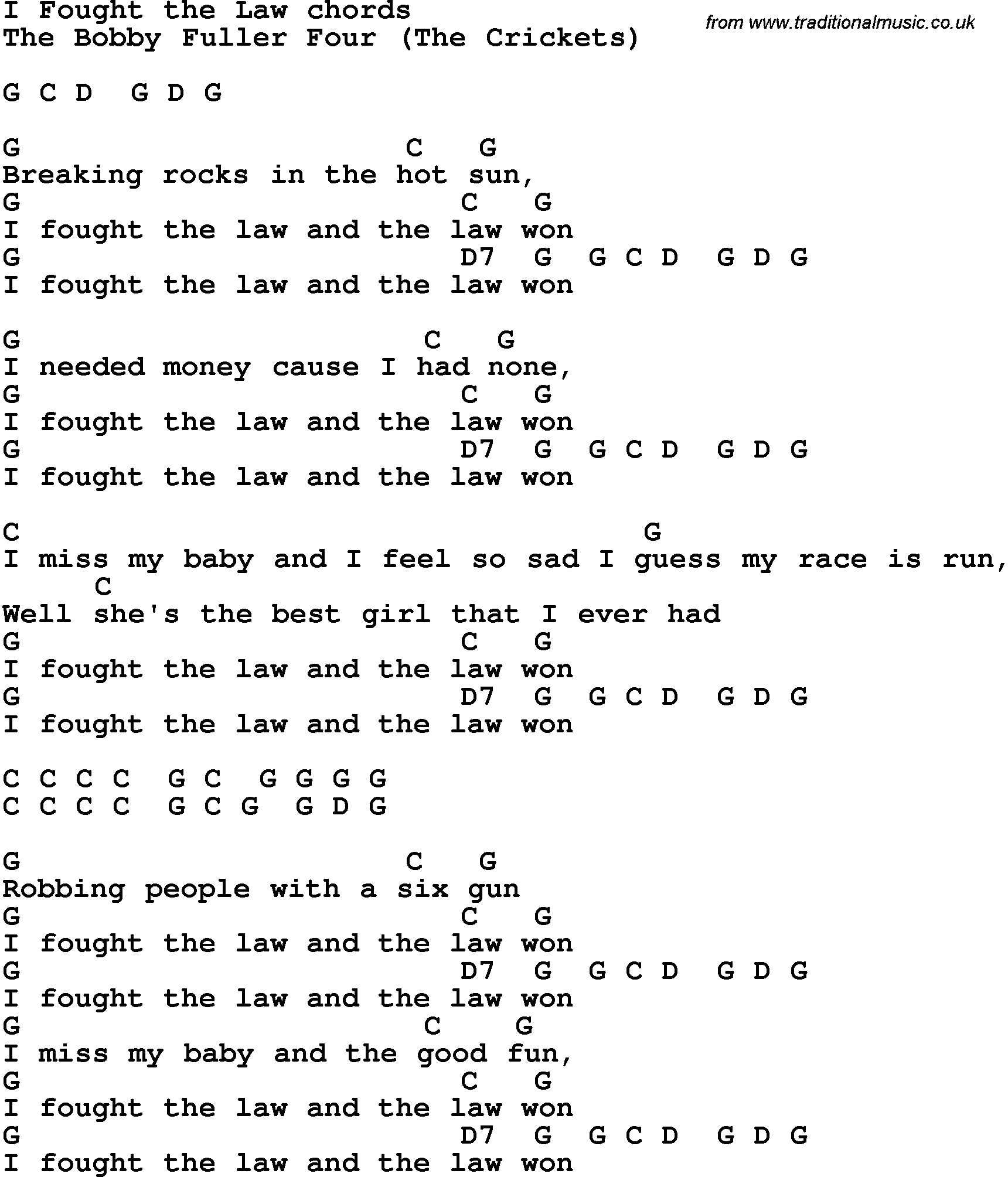 Song Lyrics With Guitar Chords For I Fought The Law