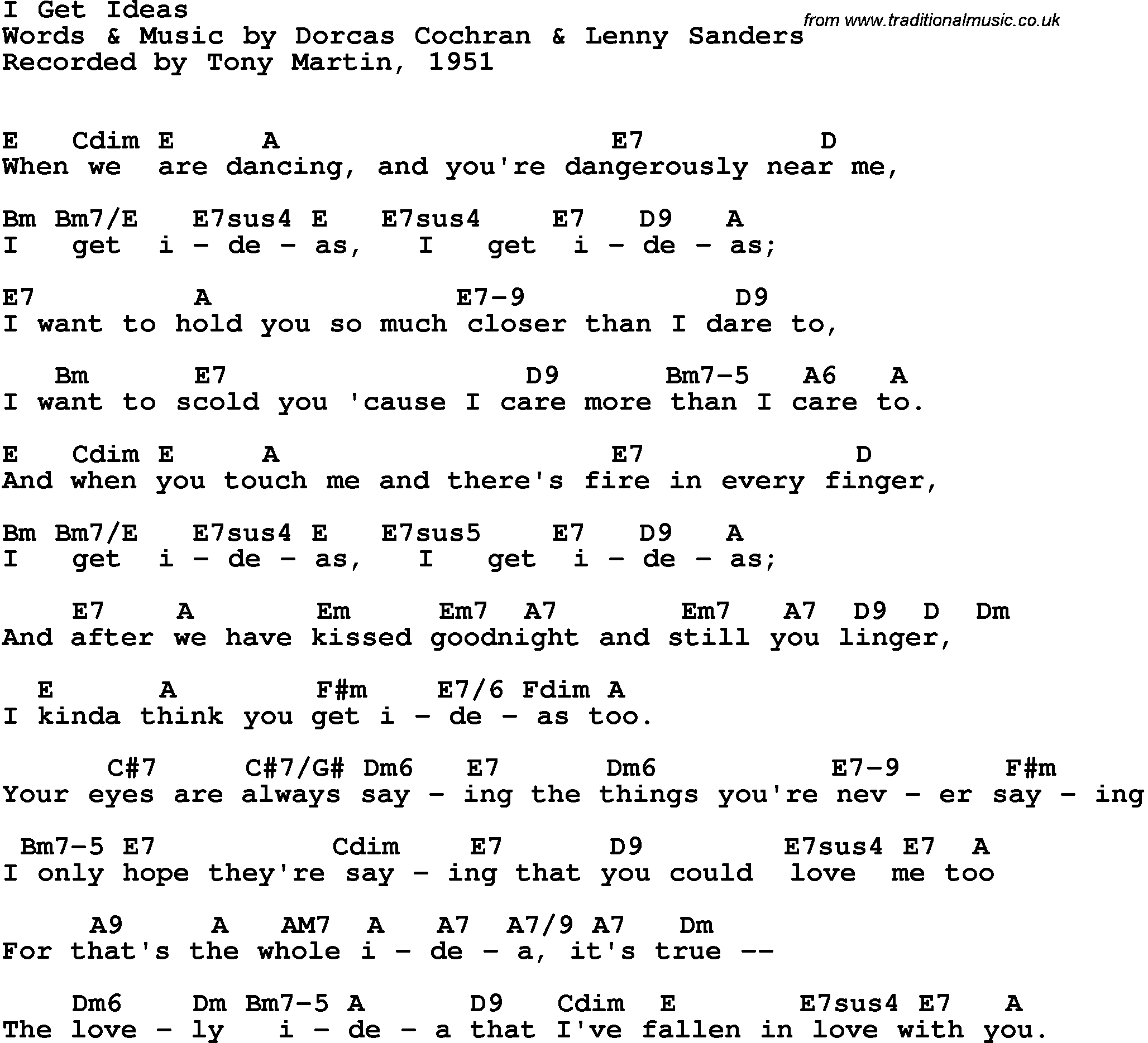 Song lyrics with guitar chords for I Get Ideas - Tony Martin, 1951