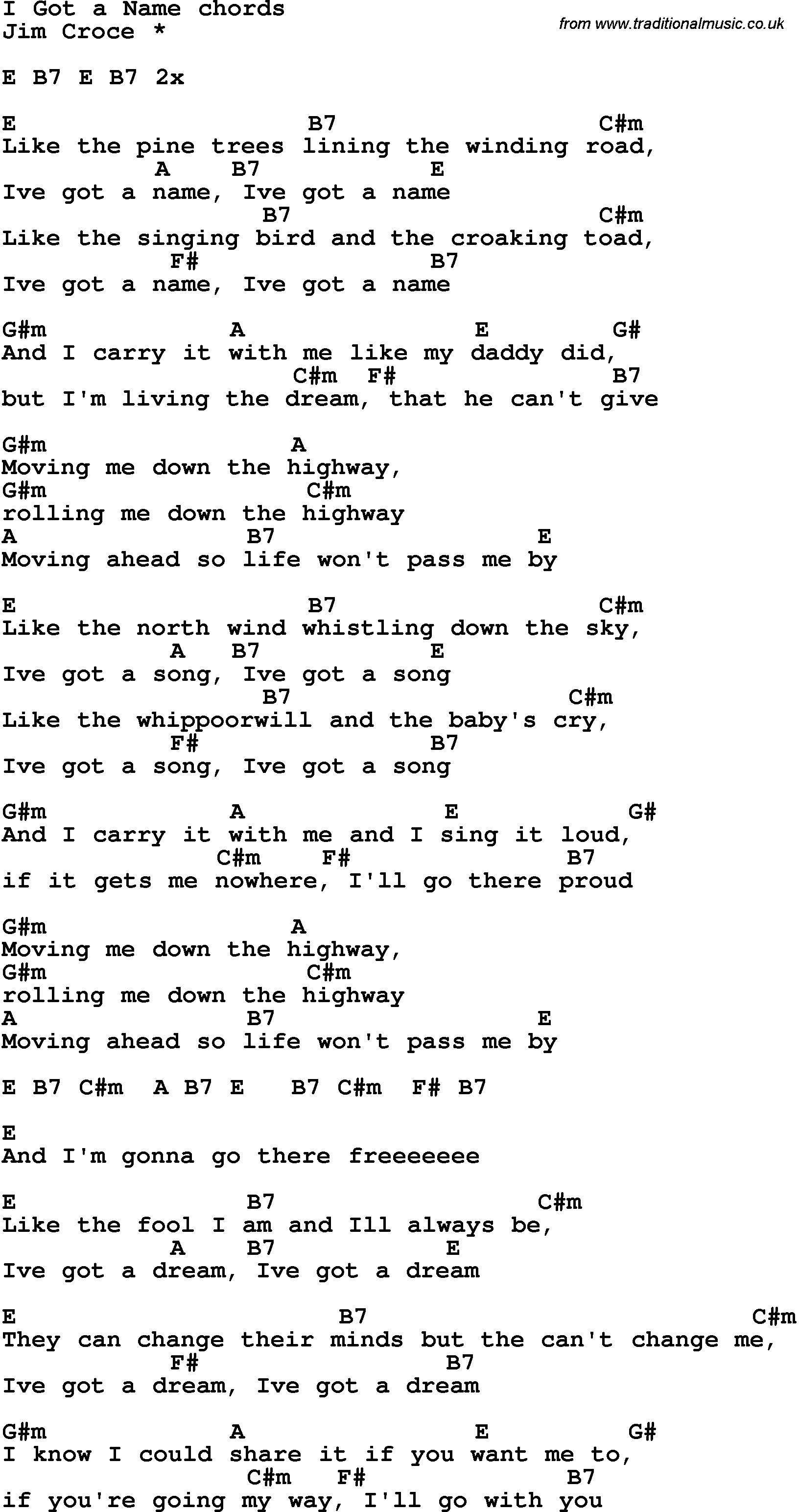 Song Lyrics With Guitar Chords For I Got A Name