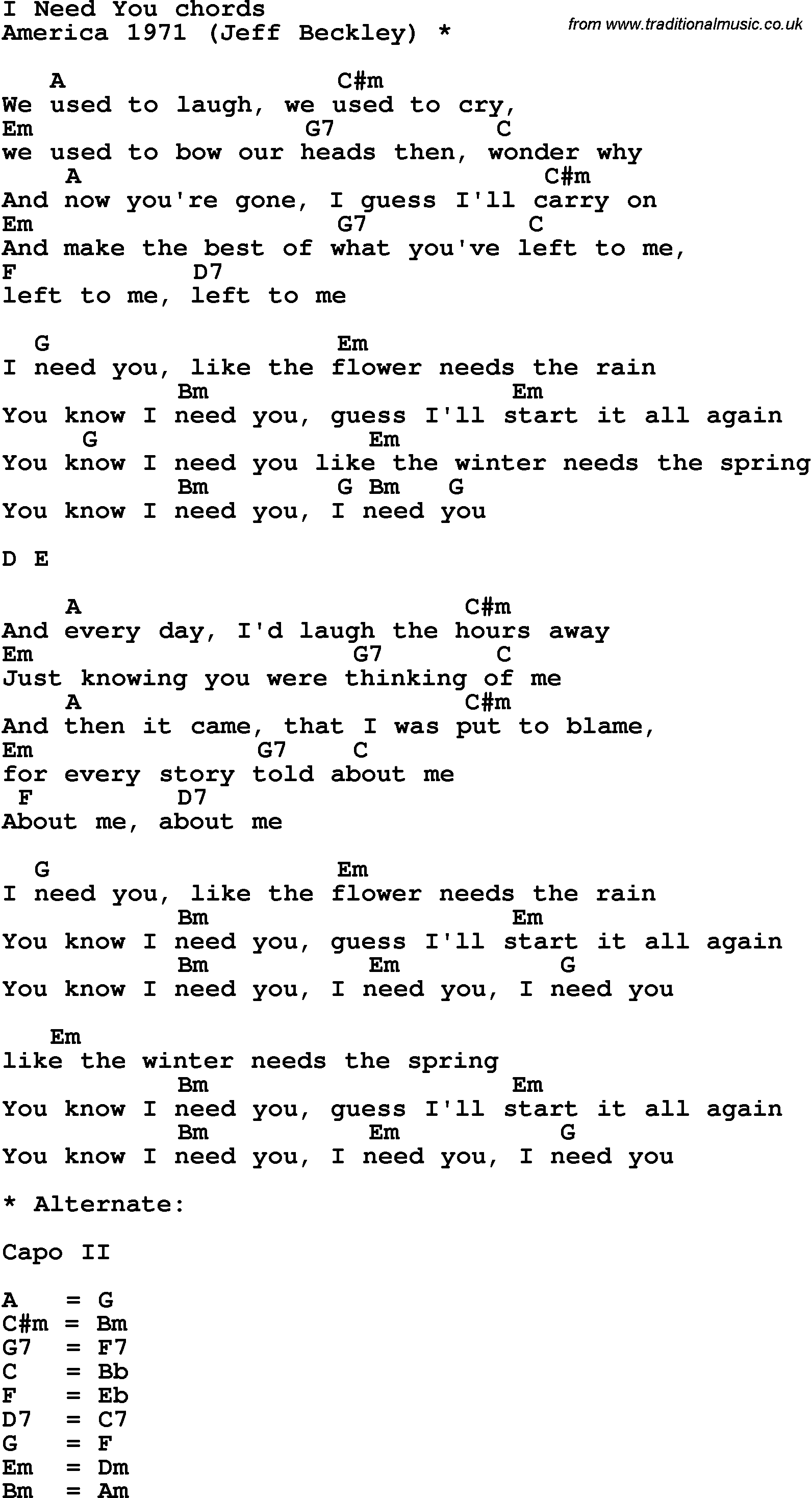Song Lyrics With Guitar Chords For I Need You America 1971