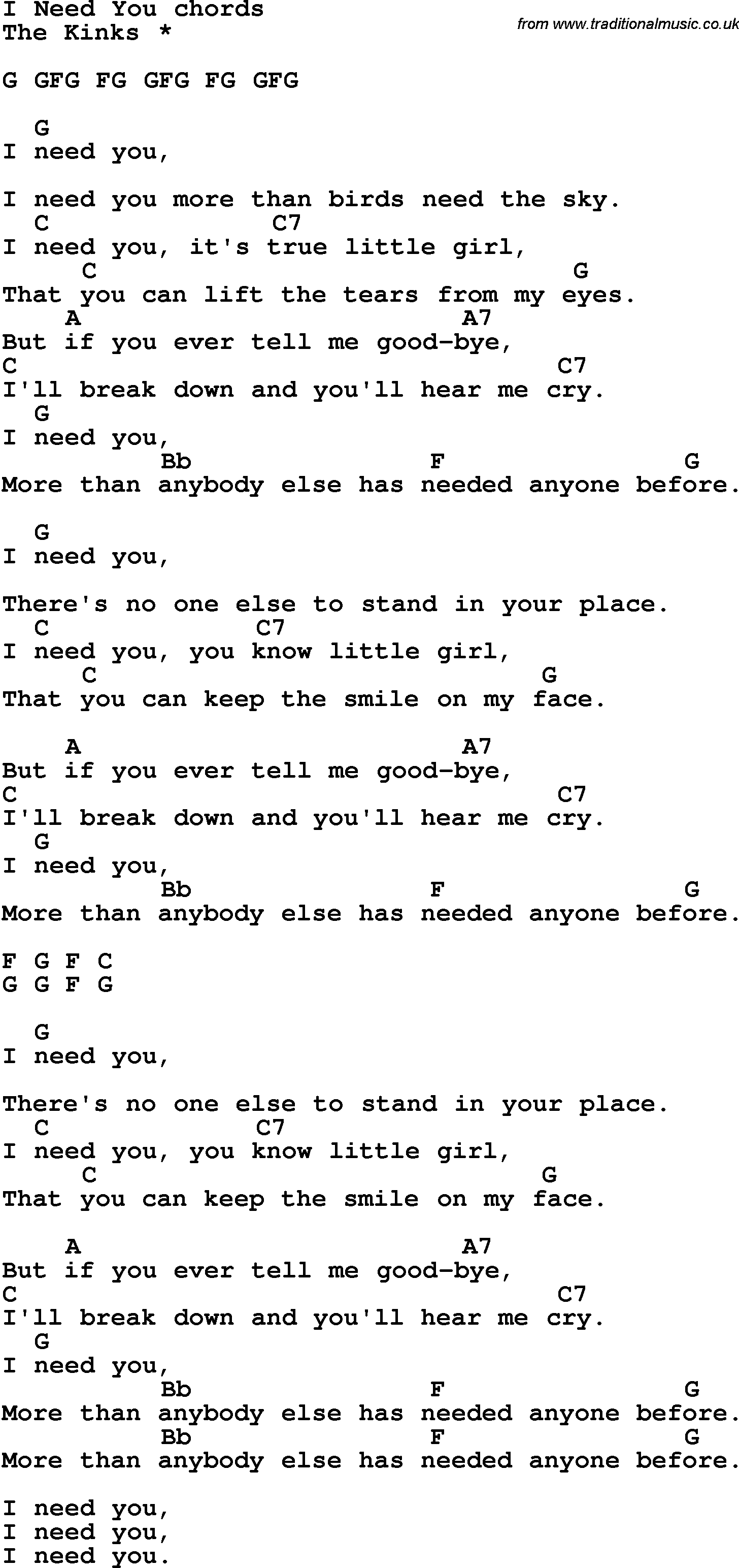 Song Lyrics With Guitar Chords For I Need You The Kinks