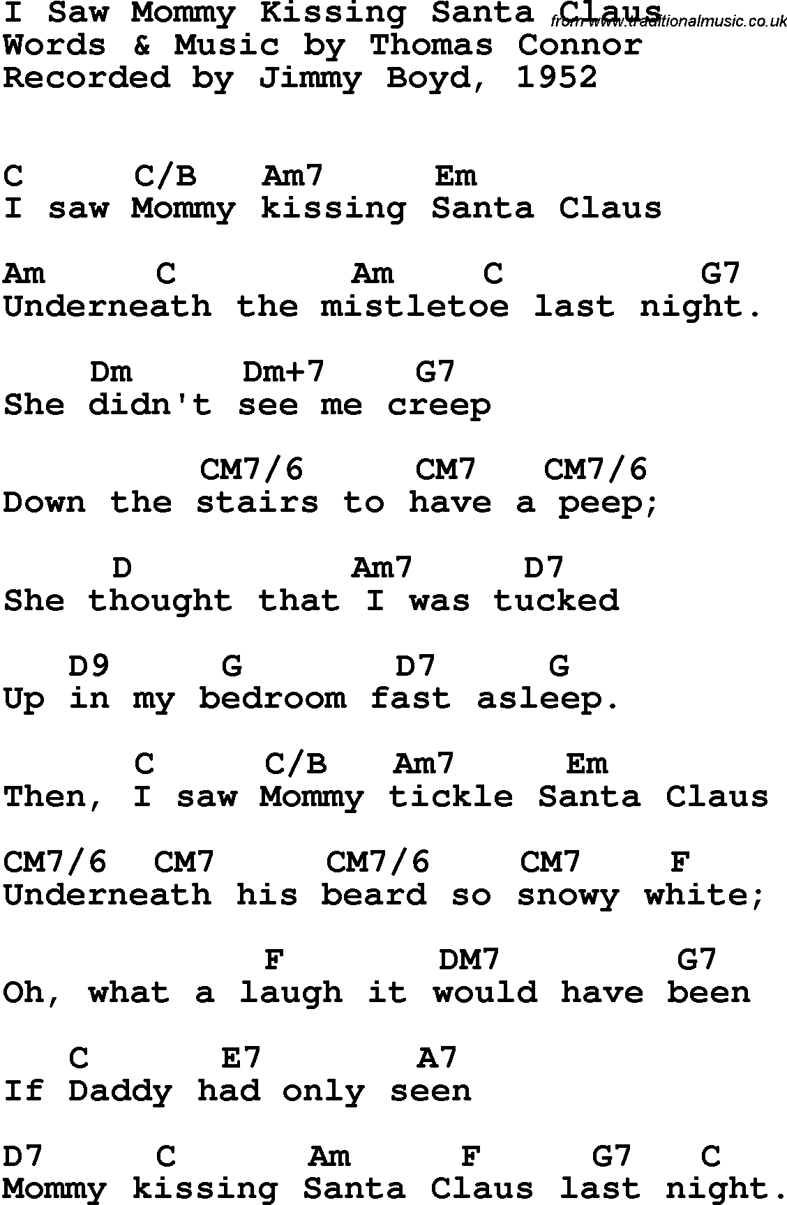 Song lyrics with guitar chords for I Saw Mommy Kissing Santa Claus ...