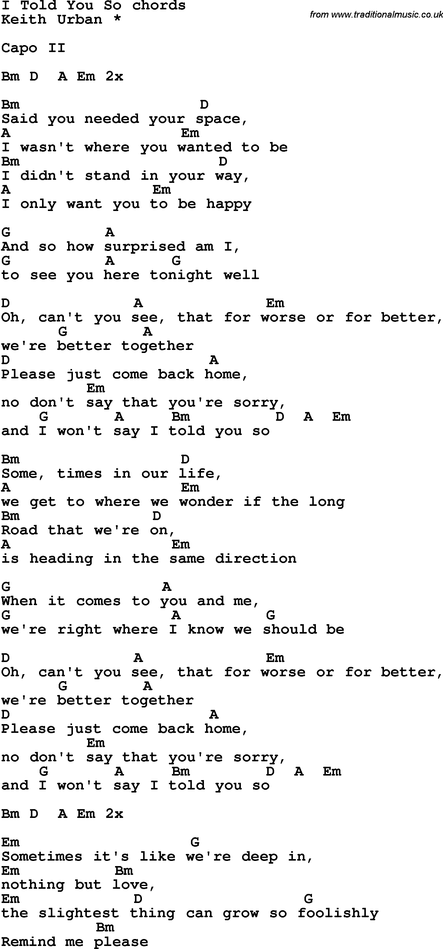 Song Lyrics With Guitar Chords For I Told You So