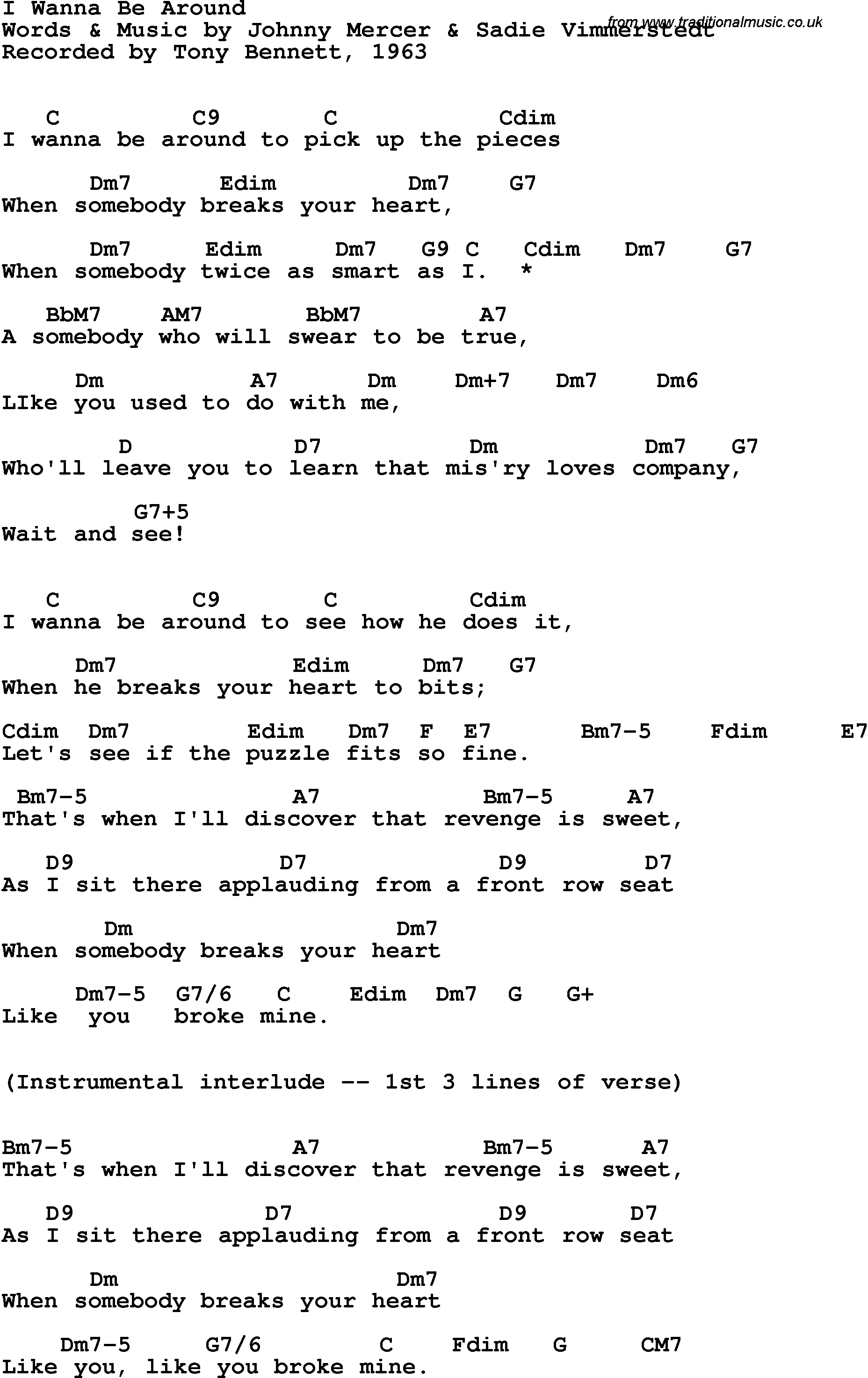 Song Lyrics With Guitar Chords For I Wanna Be Around Tony Bennett