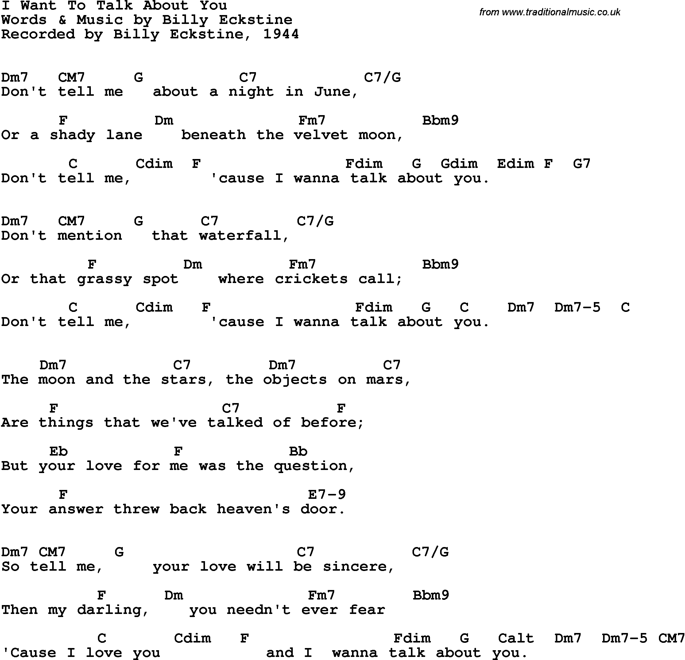 Song lyrics with guitar chords for I Want To Talk About You ...