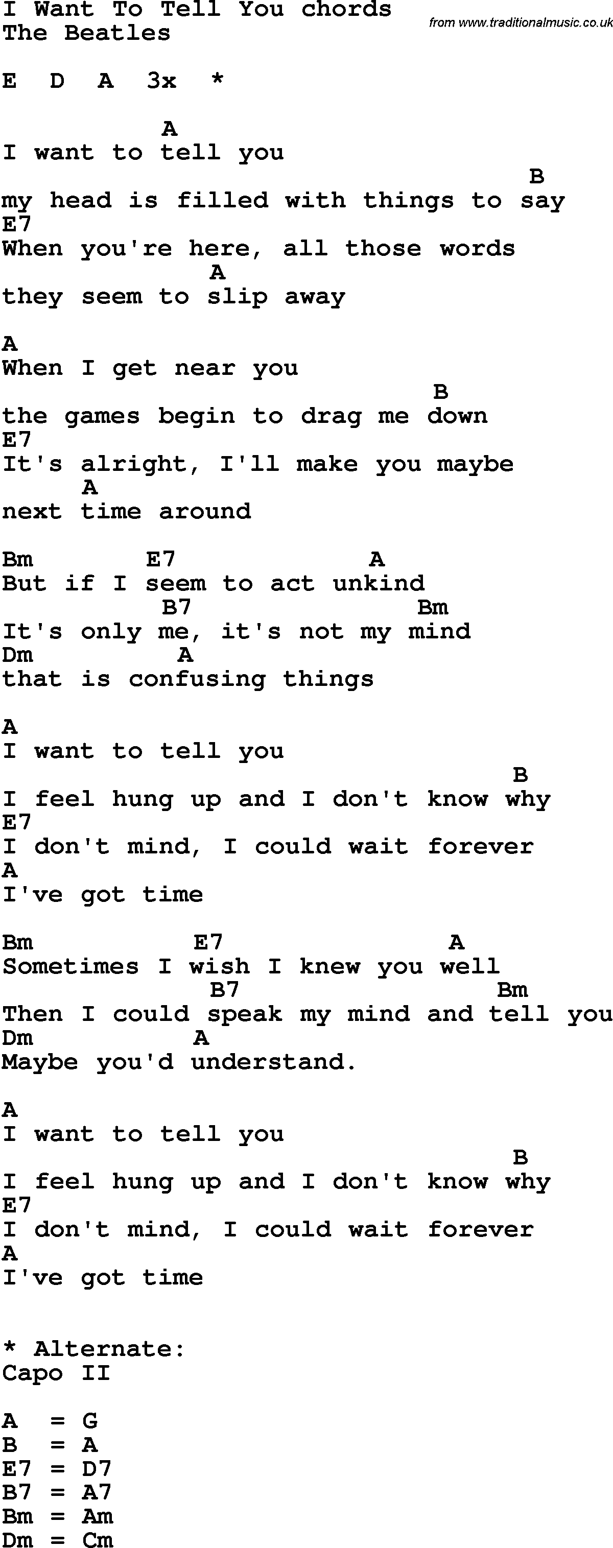 Song lyrics with guitar chords for I Want To Tell You - The Beatles