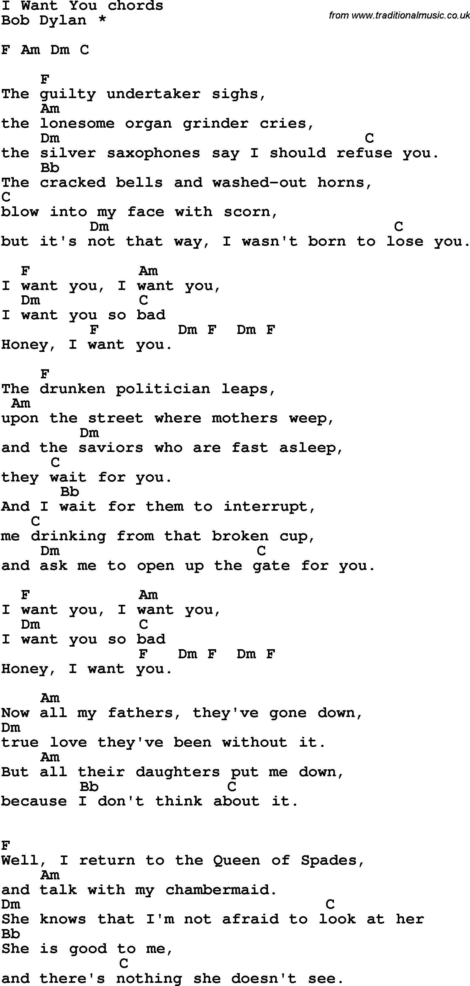 Song Lyrics With Guitar Chords For I Want You