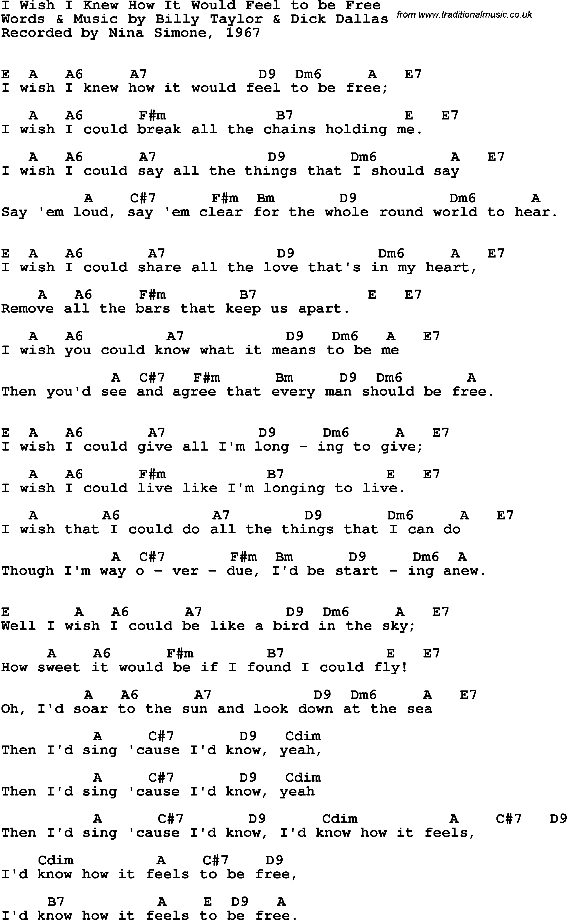 Song Lyrics With Guitar Chords For I Wish I Knew How It Would Feel To Be