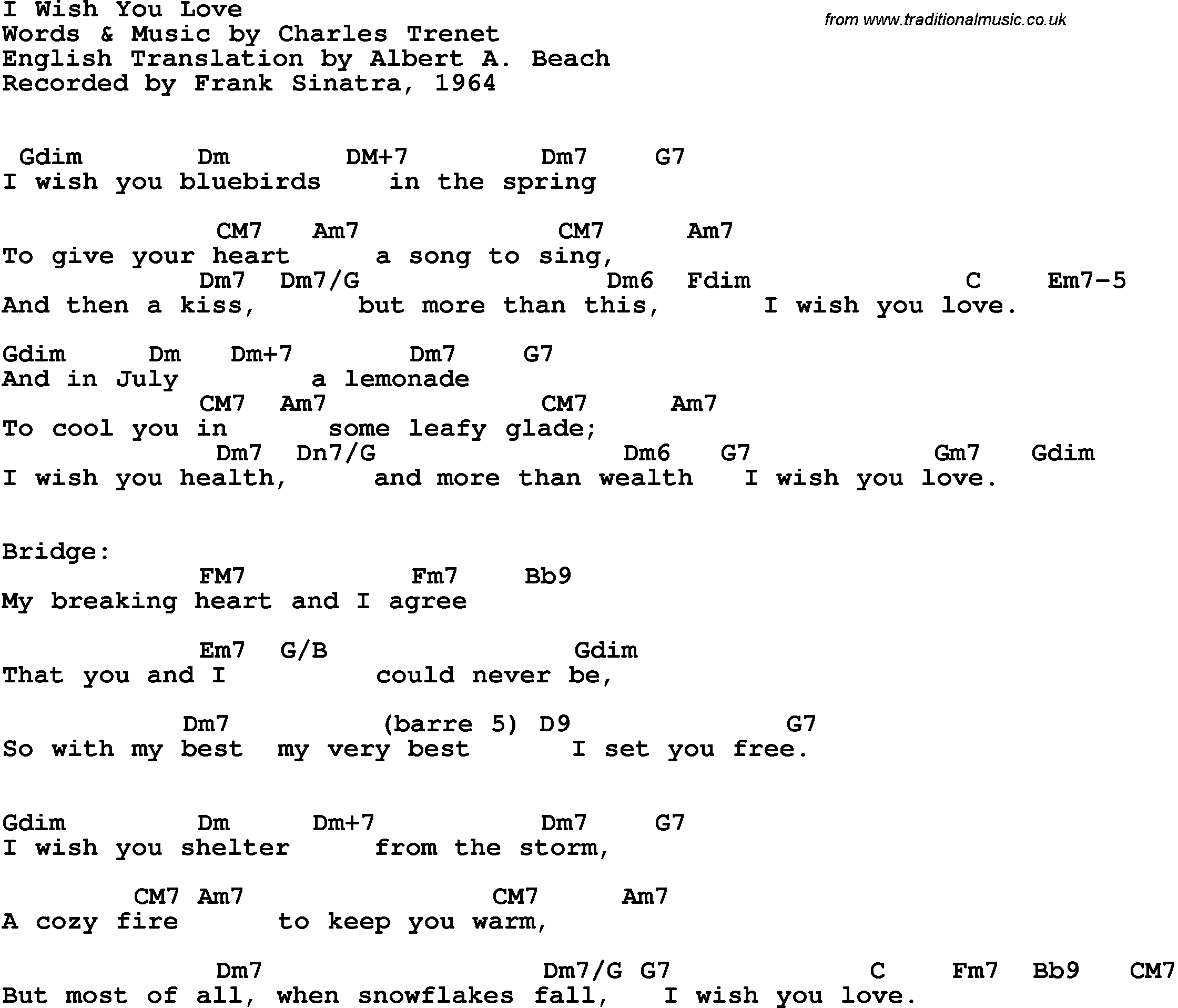 Song Lyrics With Guitar Chords For I Wish You Love Frank Sinatra 1963