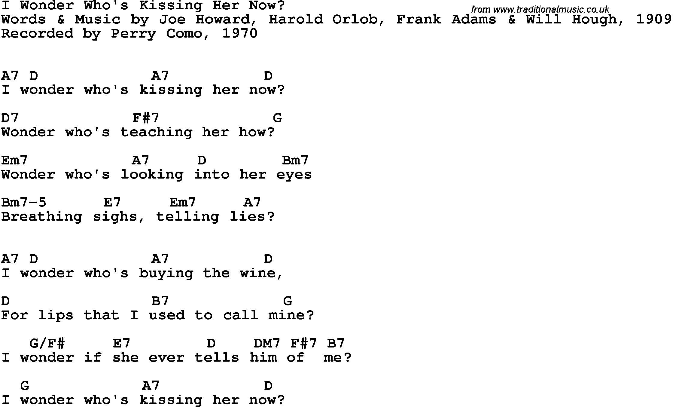 Song Lyrics With Guitar Chords For I Wonder Whos Kissing Her Now