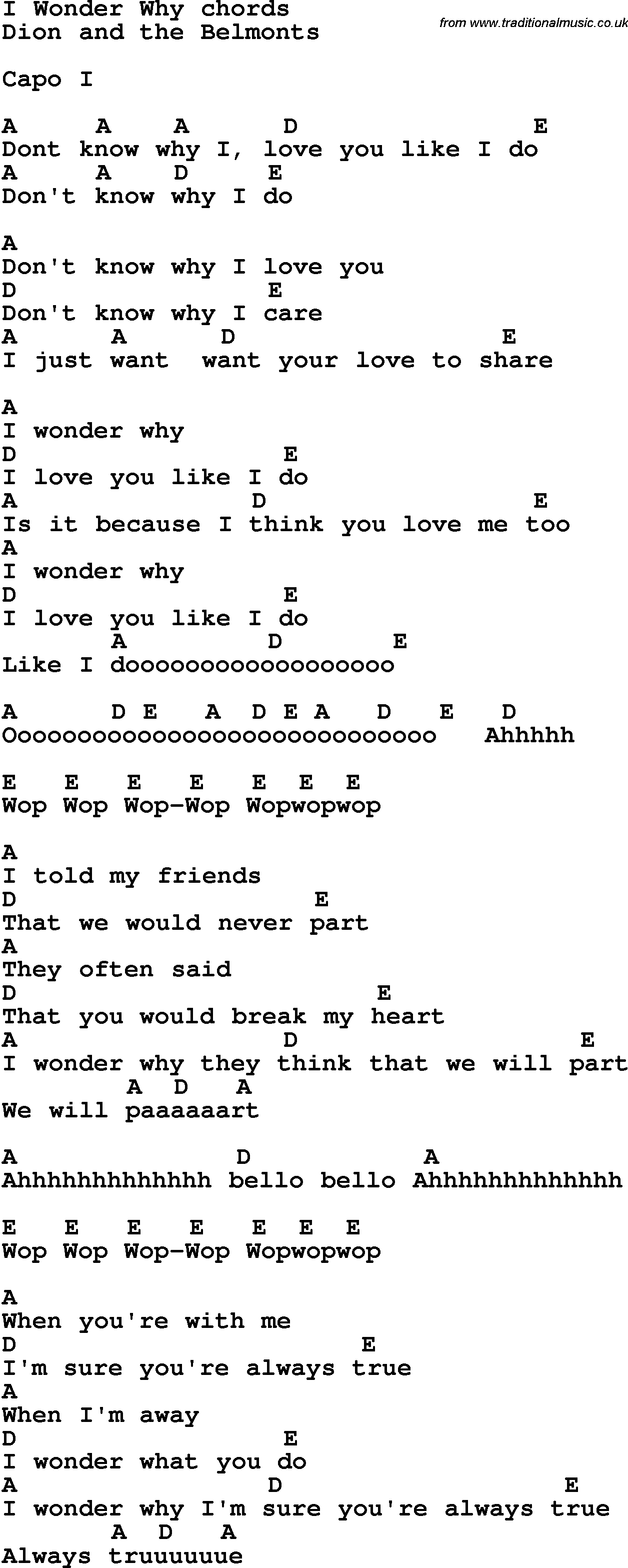 Song Lyrics With Guitar Chords For I Wonder Why
