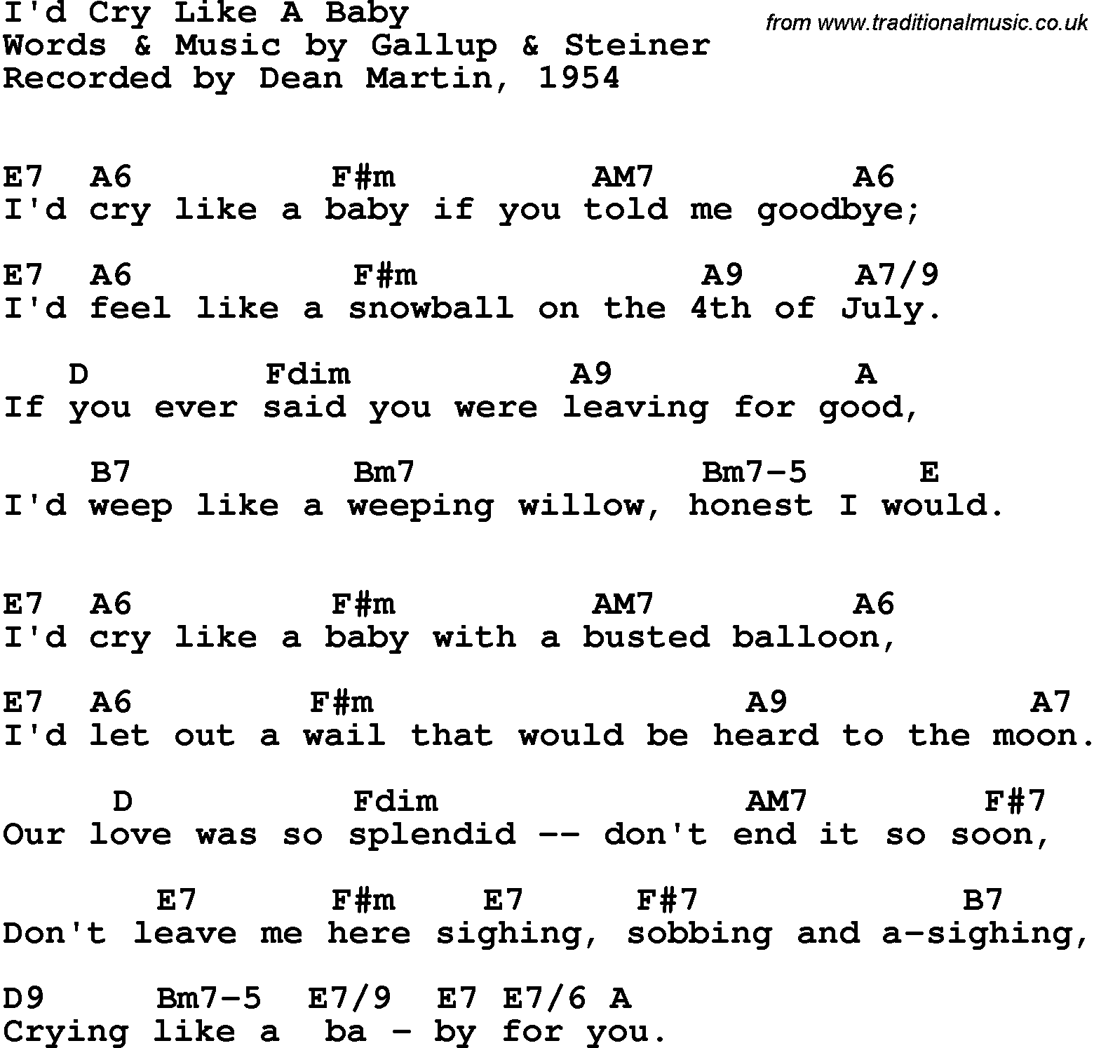 Song Lyrics With Guitar Chords For Id Cry Like A Baby Dean Martin