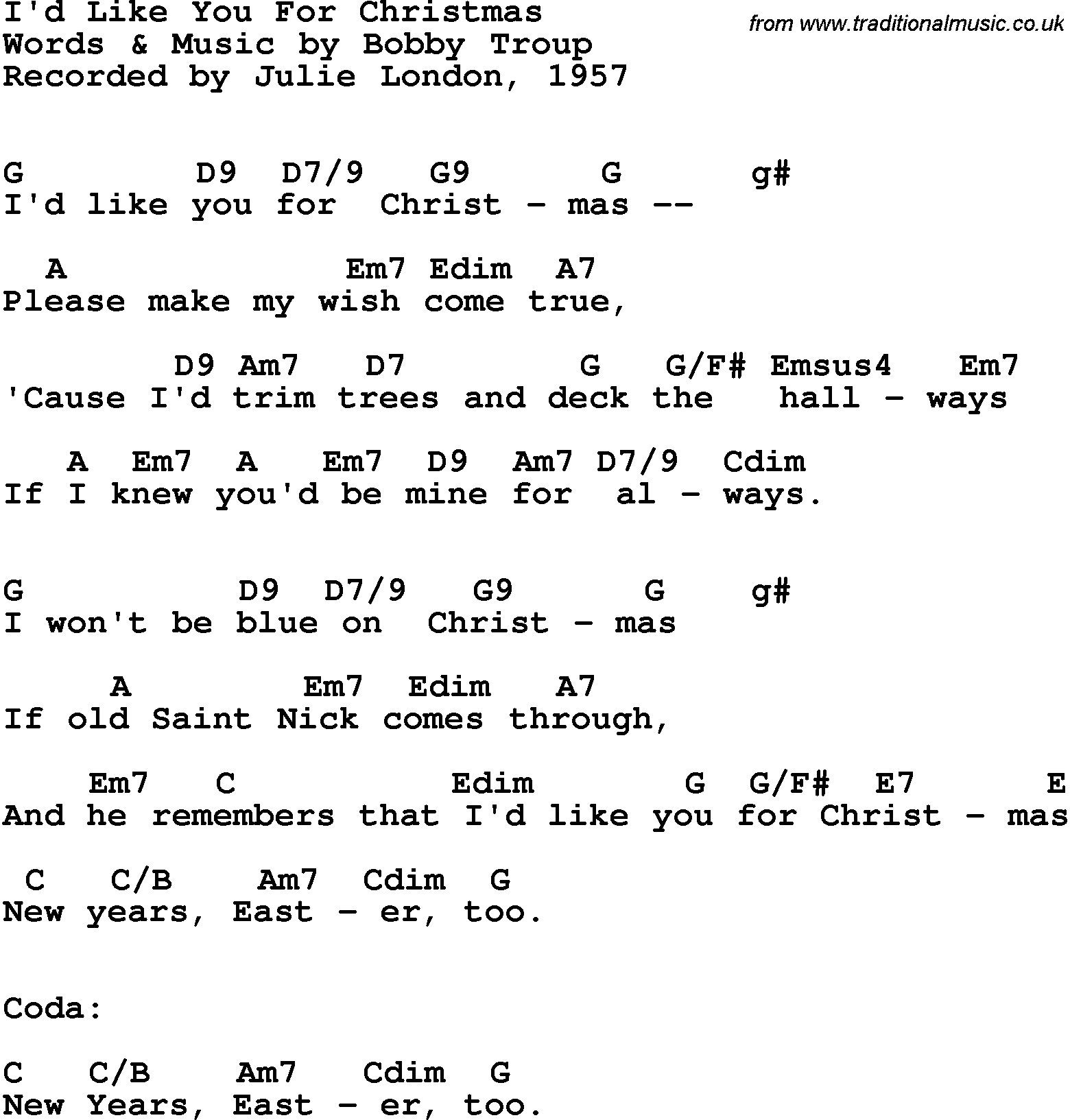 song lyrics with guitar chords for id like you for christmas julie london 1957 - Blue Christmas Guitar Chords