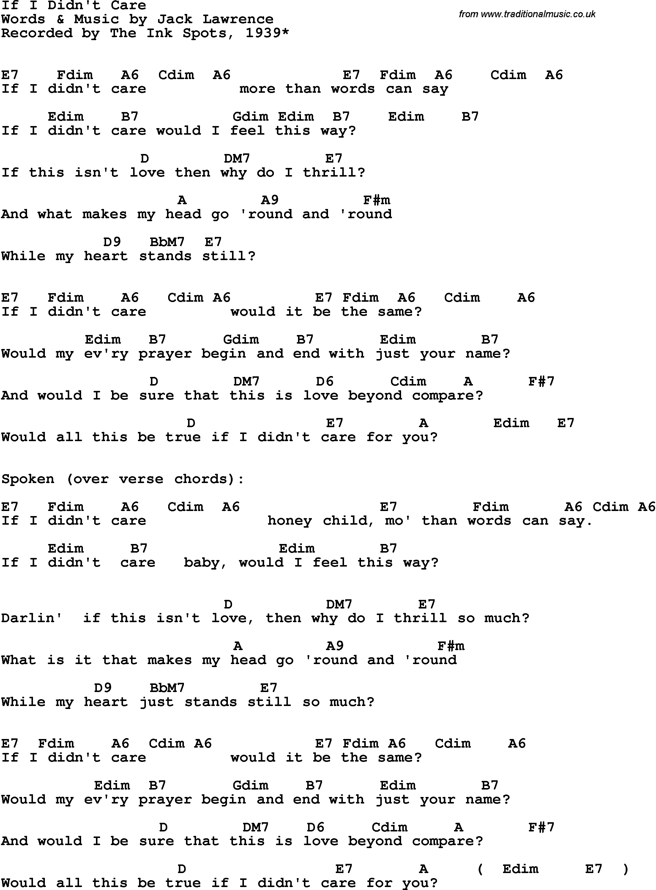 Song Lyrics With Guitar Chords For If I Didnt Care The Platters 1961