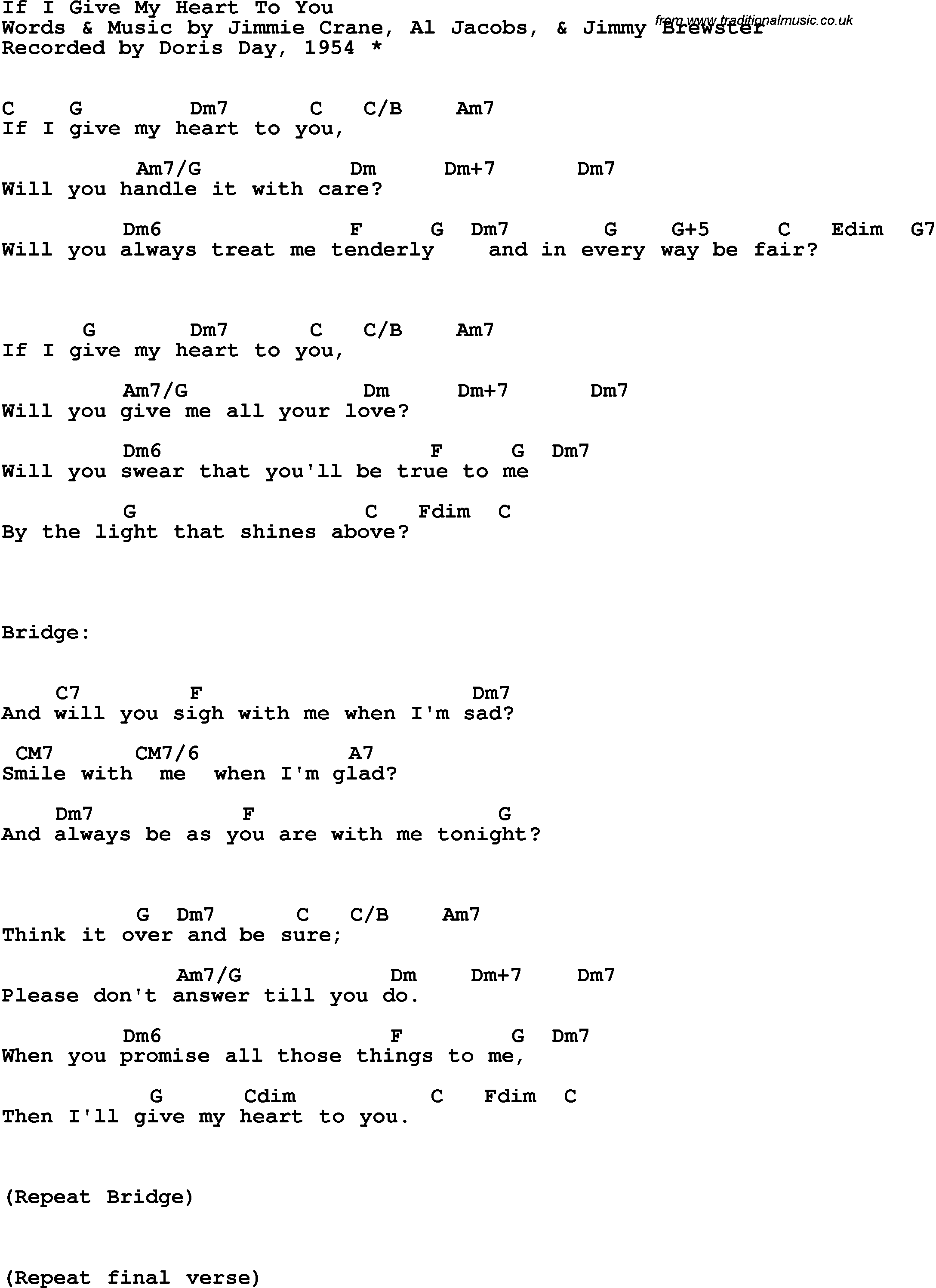 Song Lyrics With Guitar Chords For If I Give My Heart To You Doris