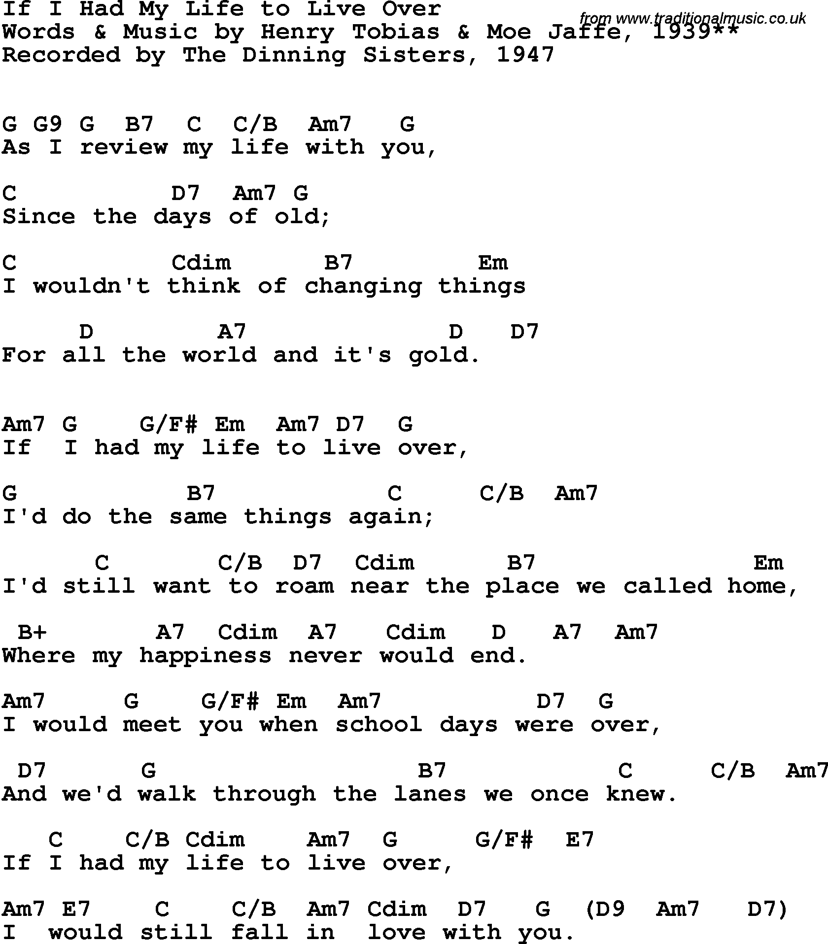 Song Lyrics With Guitar Chords For If I Had My Life To Live Over