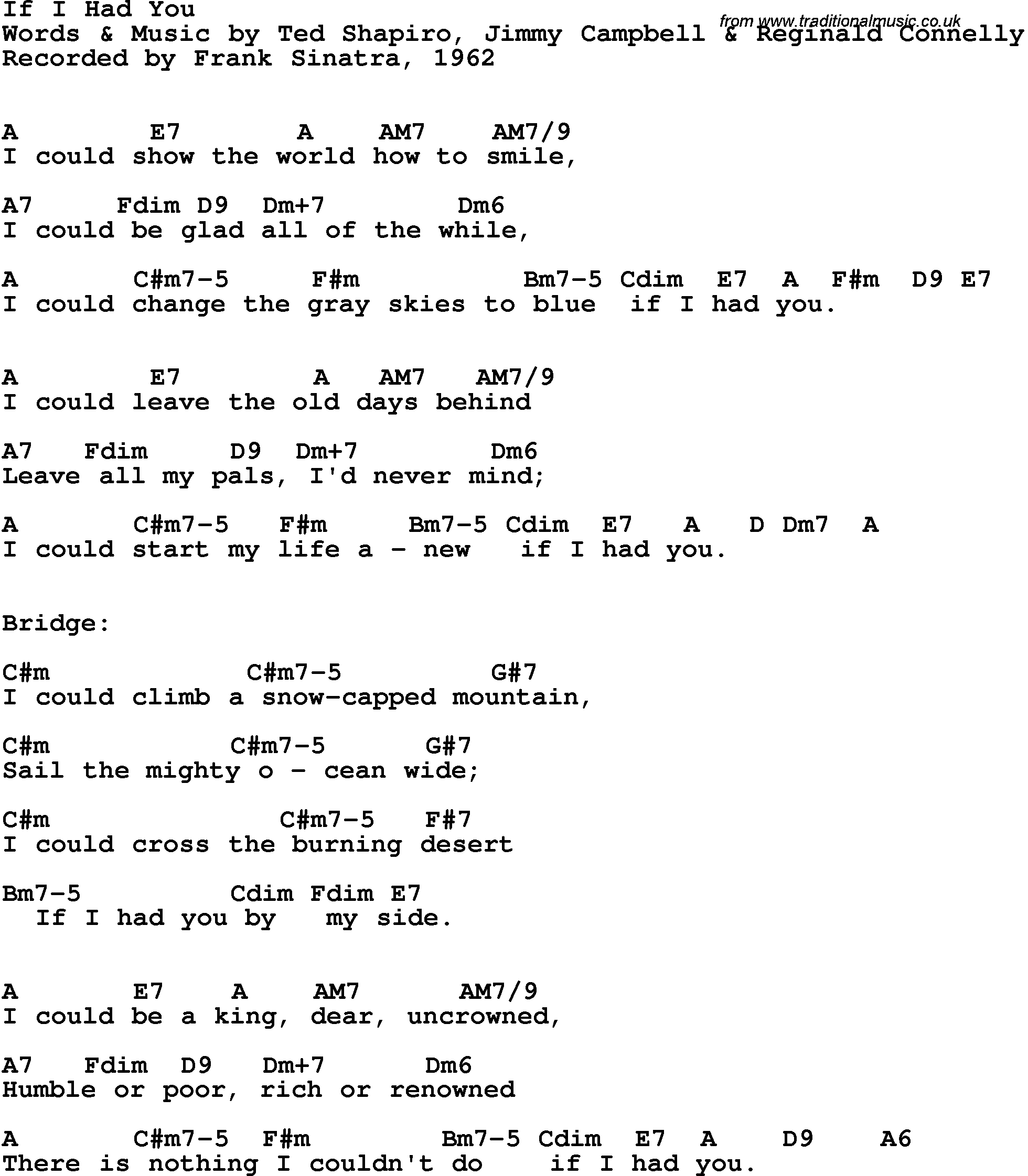 Song lyrics with guitar chords for If I Had You - Frank ...