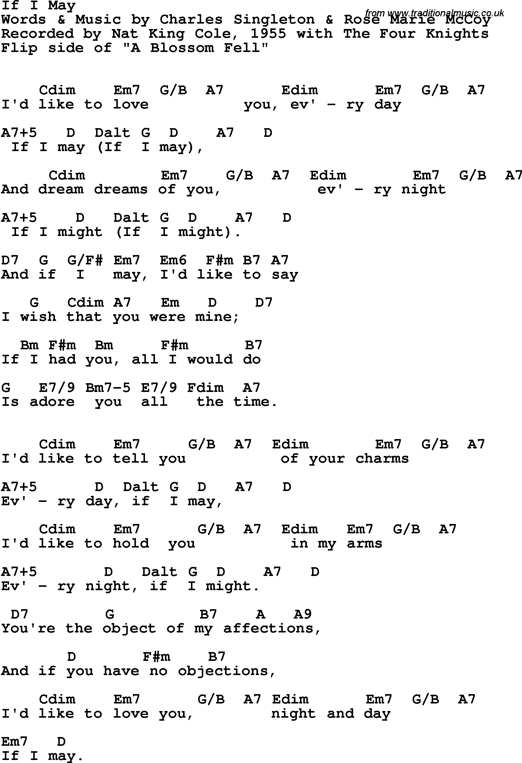 Song lyrics with guitar chords for If I May - Nat King Cole & The Four Knights, 1955