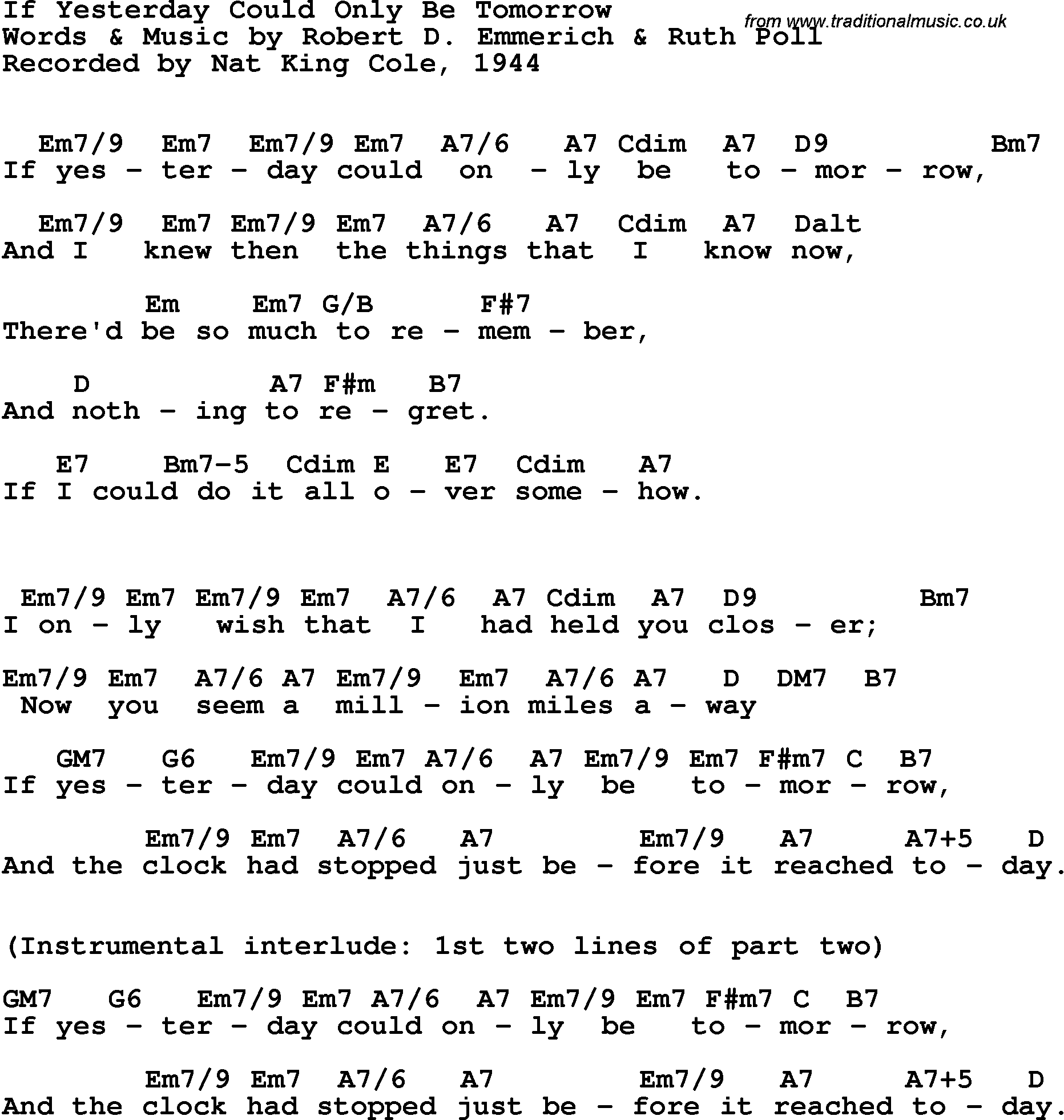 Song Lyrics With Guitar Chords For If Yesterday Could Only Be