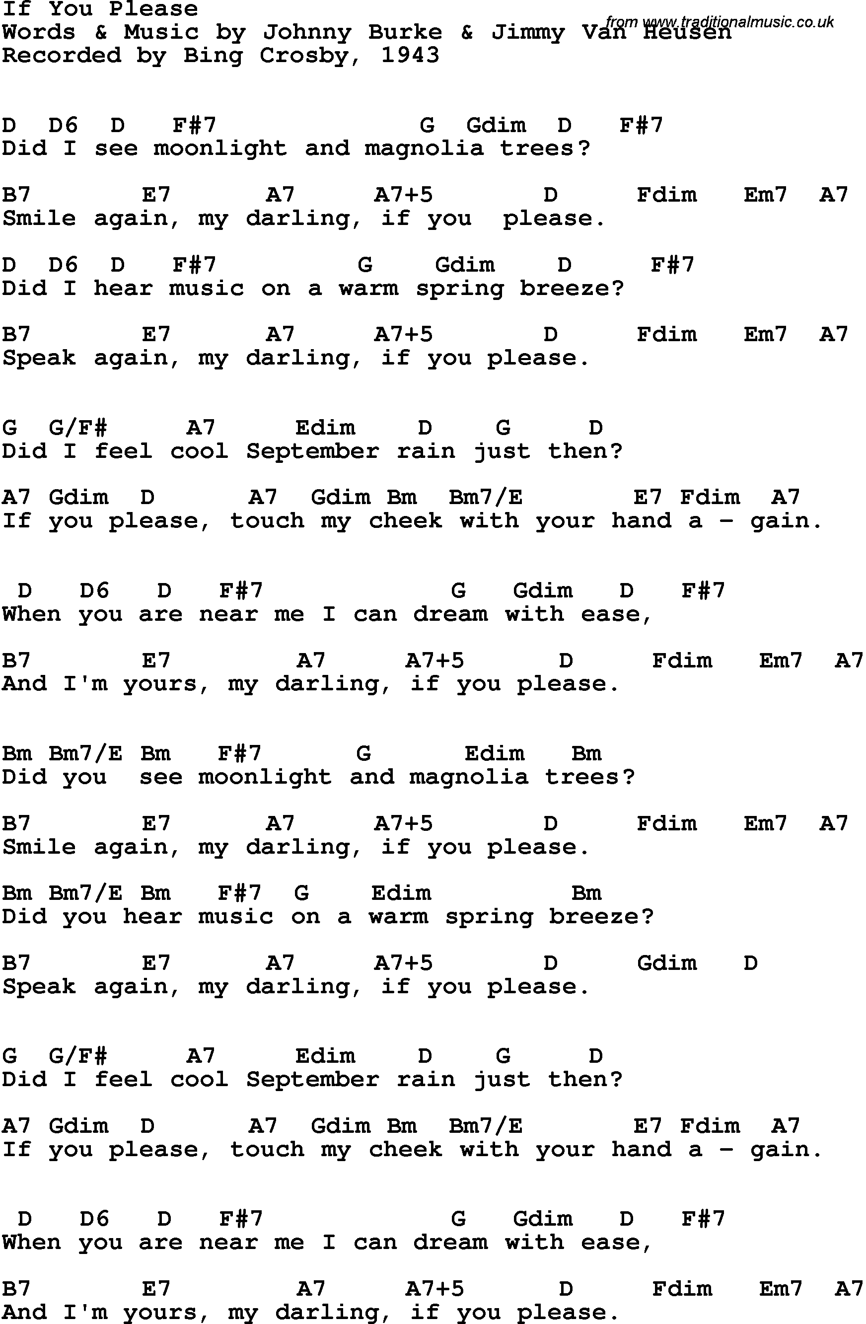 Song Lyrics With Guitar Chords For If You Please Bing Crosby 1943