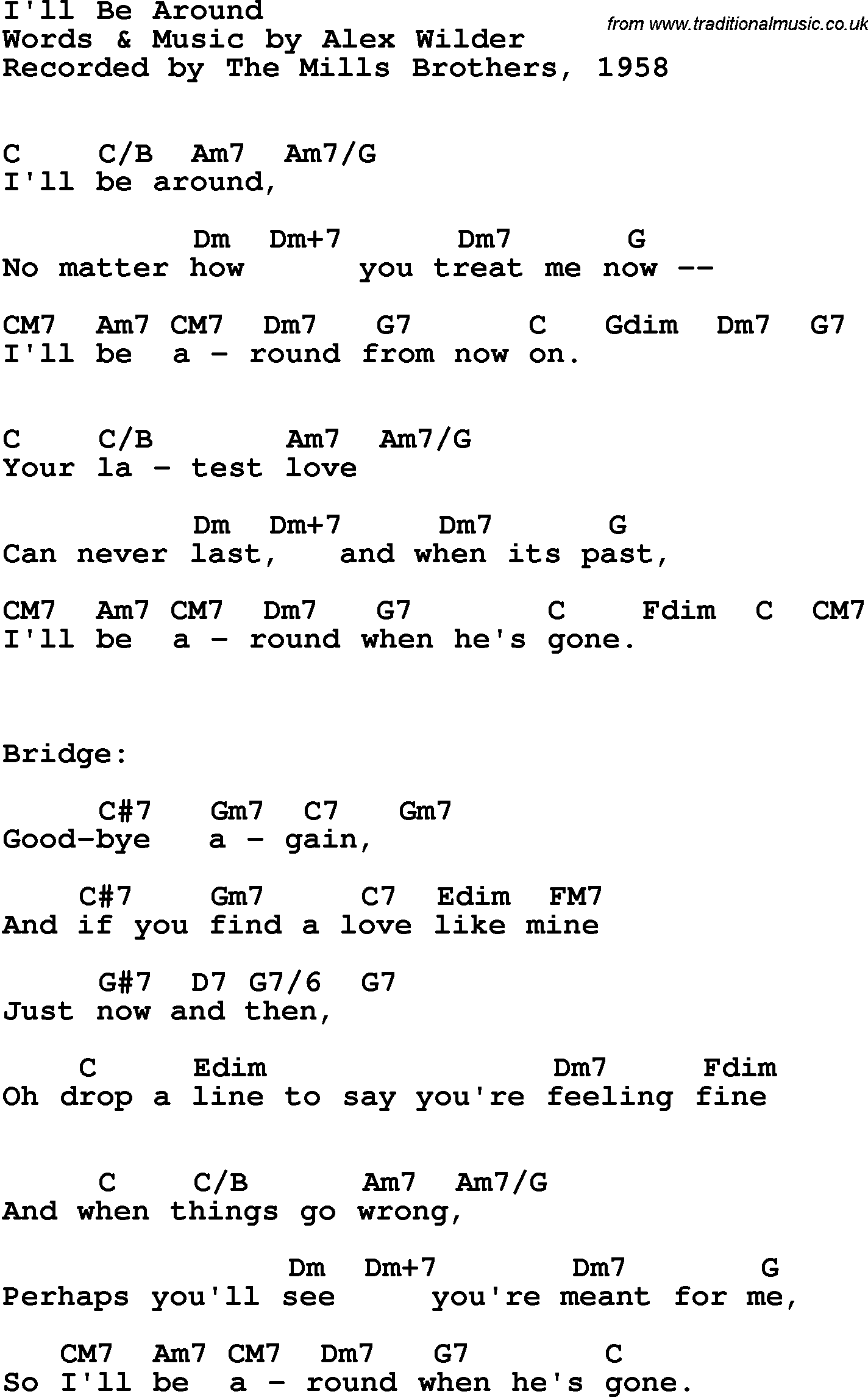 Song Lyrics With Guitar Chords For Ill Be Around The Mills