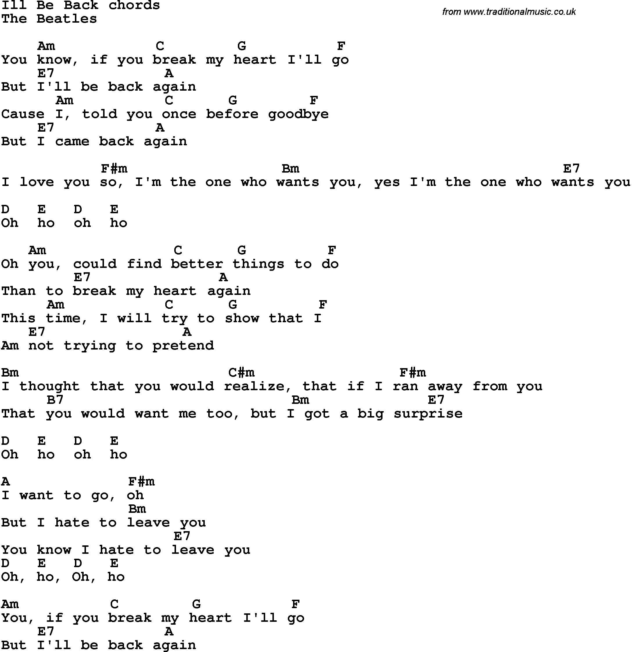 Song lyrics with guitar chords for ill be back the beatles song lyrics with guitar chords for ill be back the beatles hexwebz Images