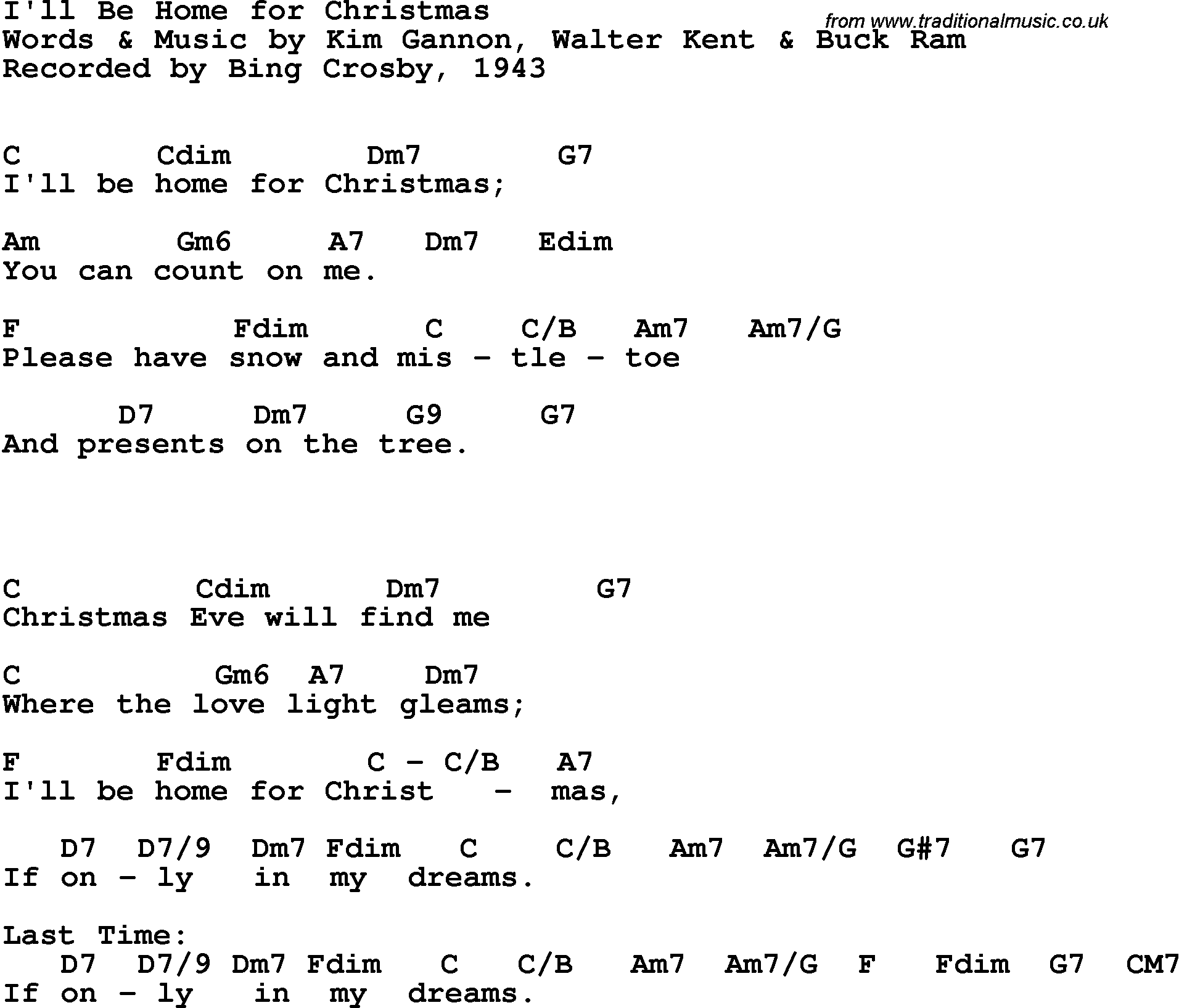 Song lyrics with guitar chords for I\'ll Be Home For Christmas - Bing ...