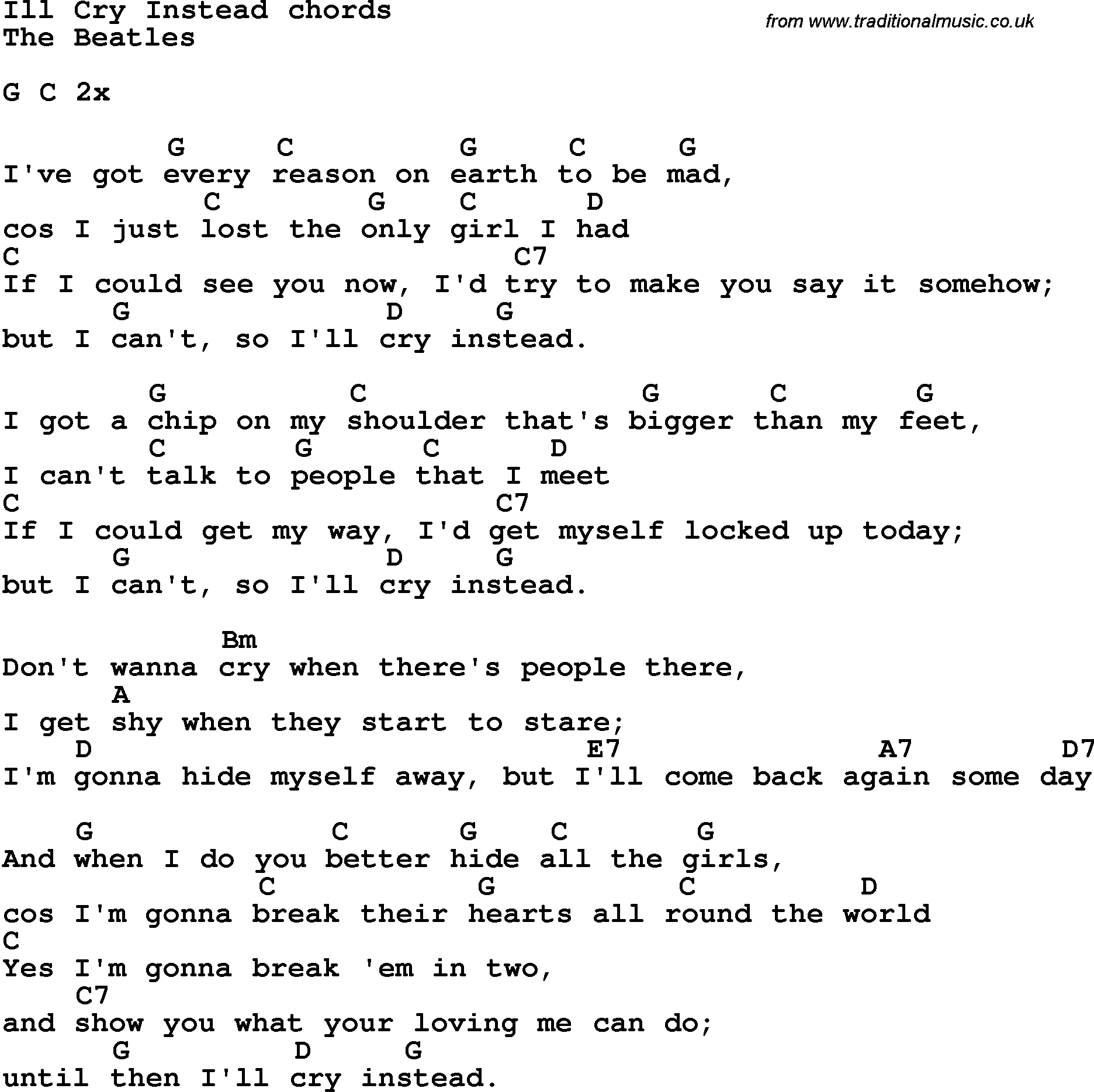 Song Lyrics With Guitar Chords For Ill Cry Instead The Beatles