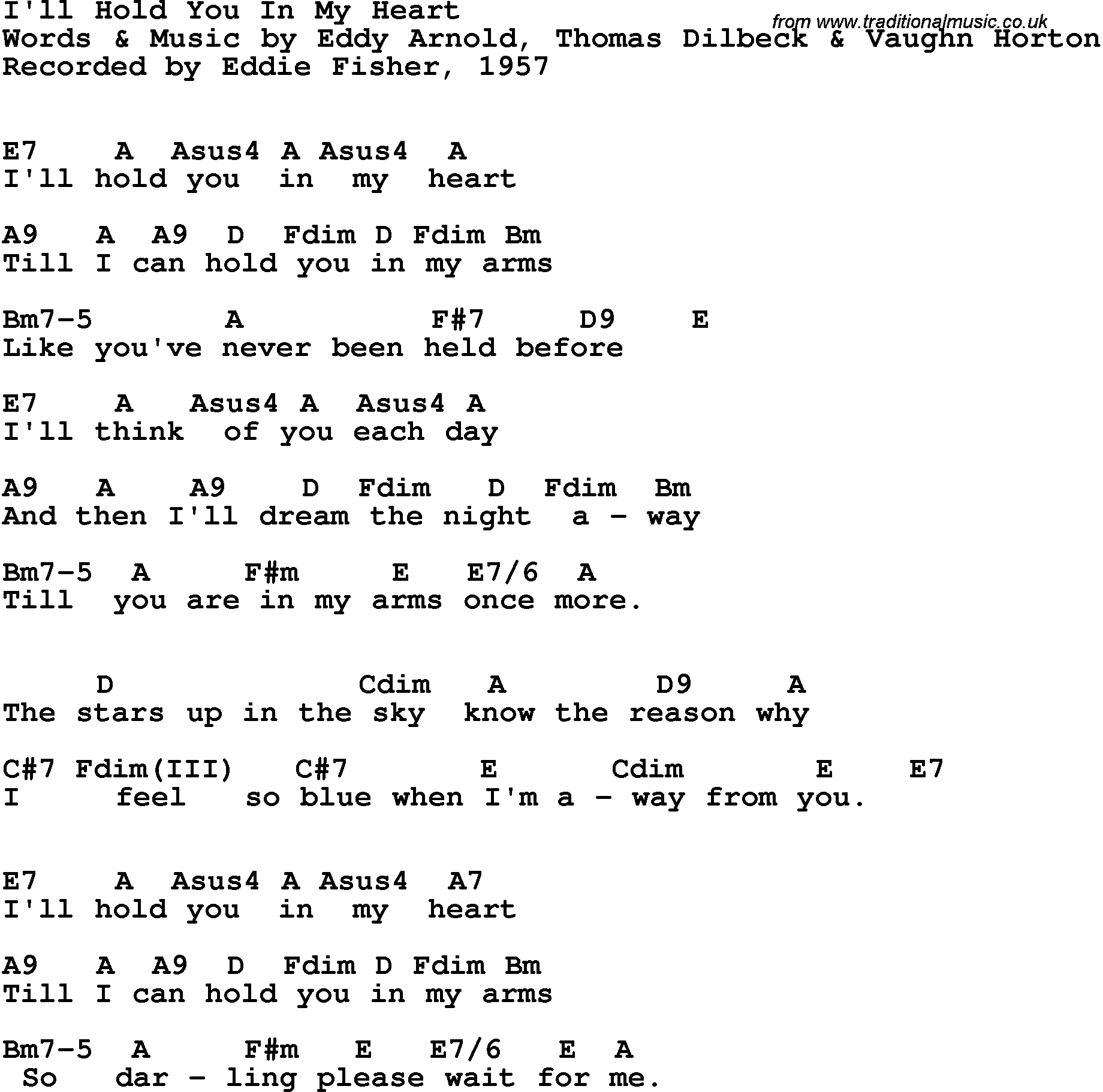 Song Lyrics With Guitar Chords For Ill Hold You In My Heart Eddie