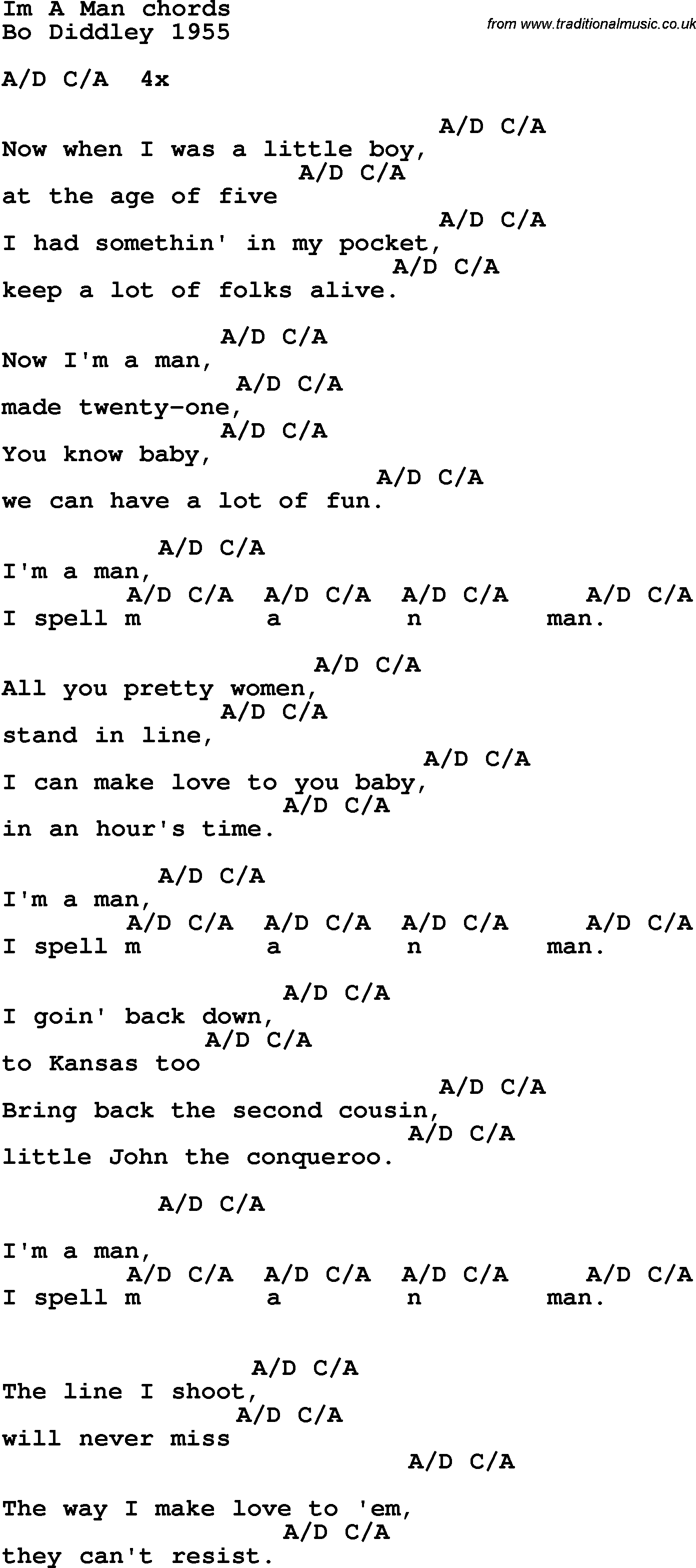Song Lyrics With Guitar Chords For Im A Man Bo Diddley 1955