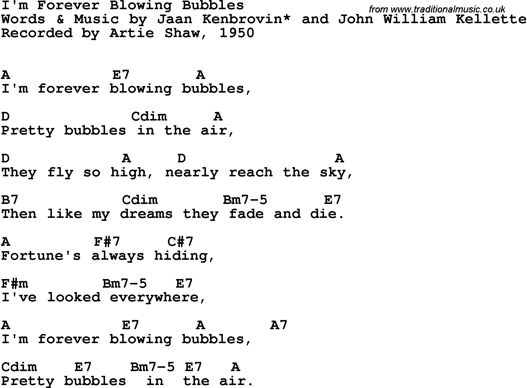 Song Lyrics With Guitar Chords For Im Forever Blowing Bubbles