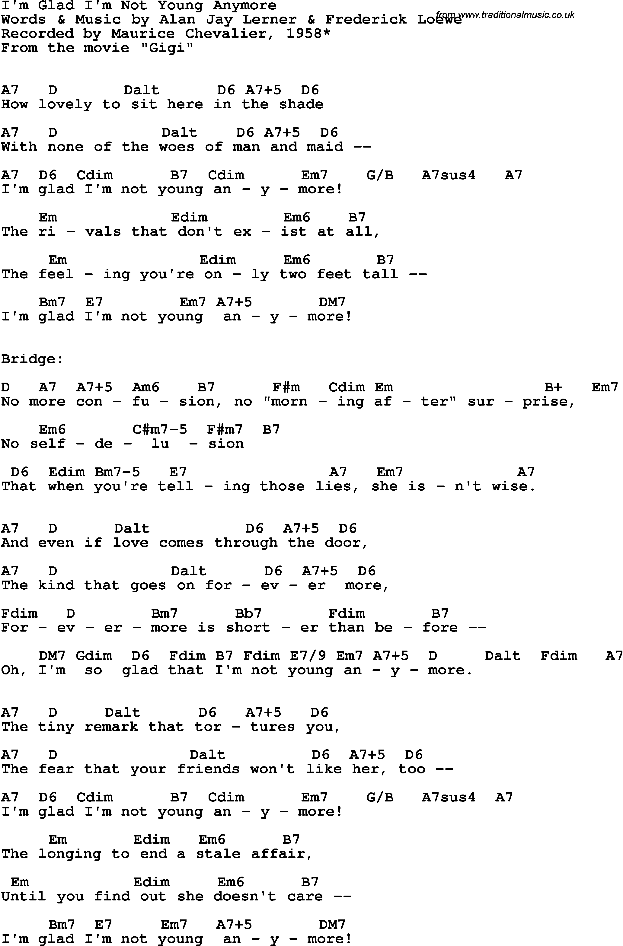 Song Lyrics With Guitar Chords For Im Glad Im Not Young Anymore