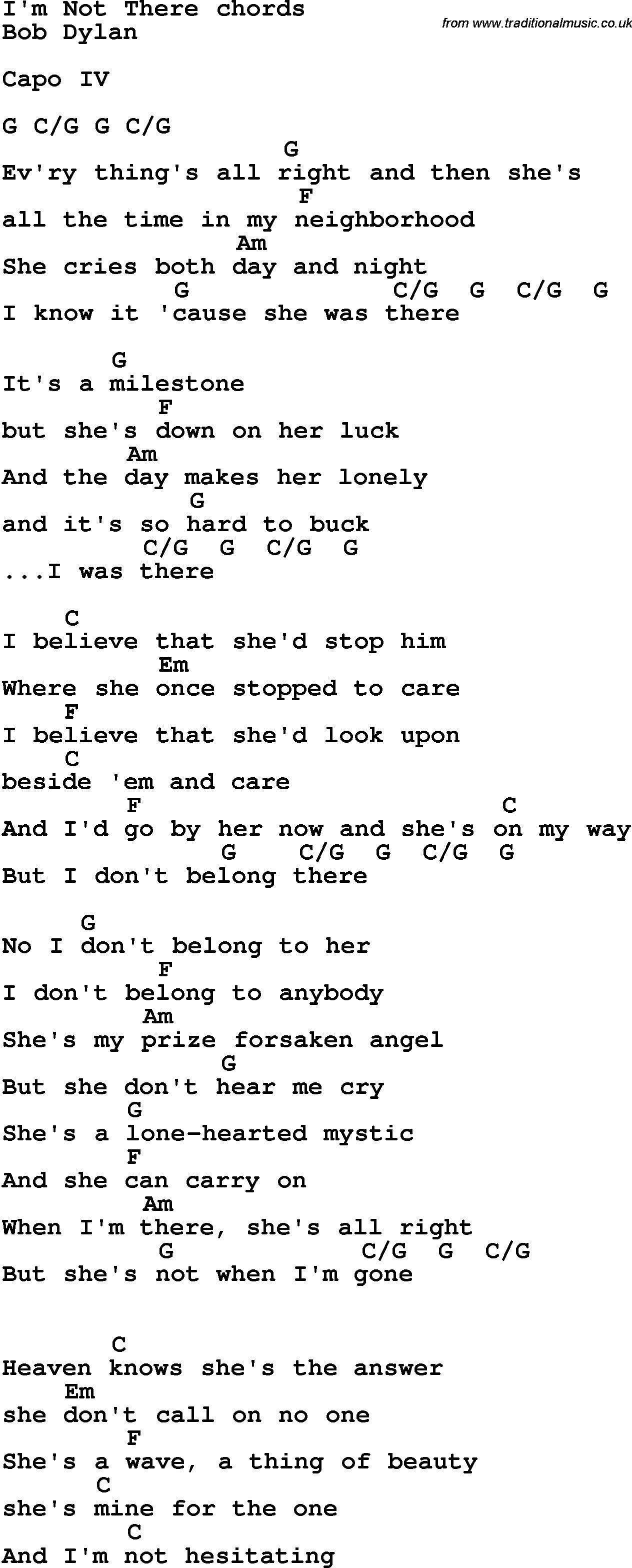 Song Lyrics With Guitar Chords For Im Not There