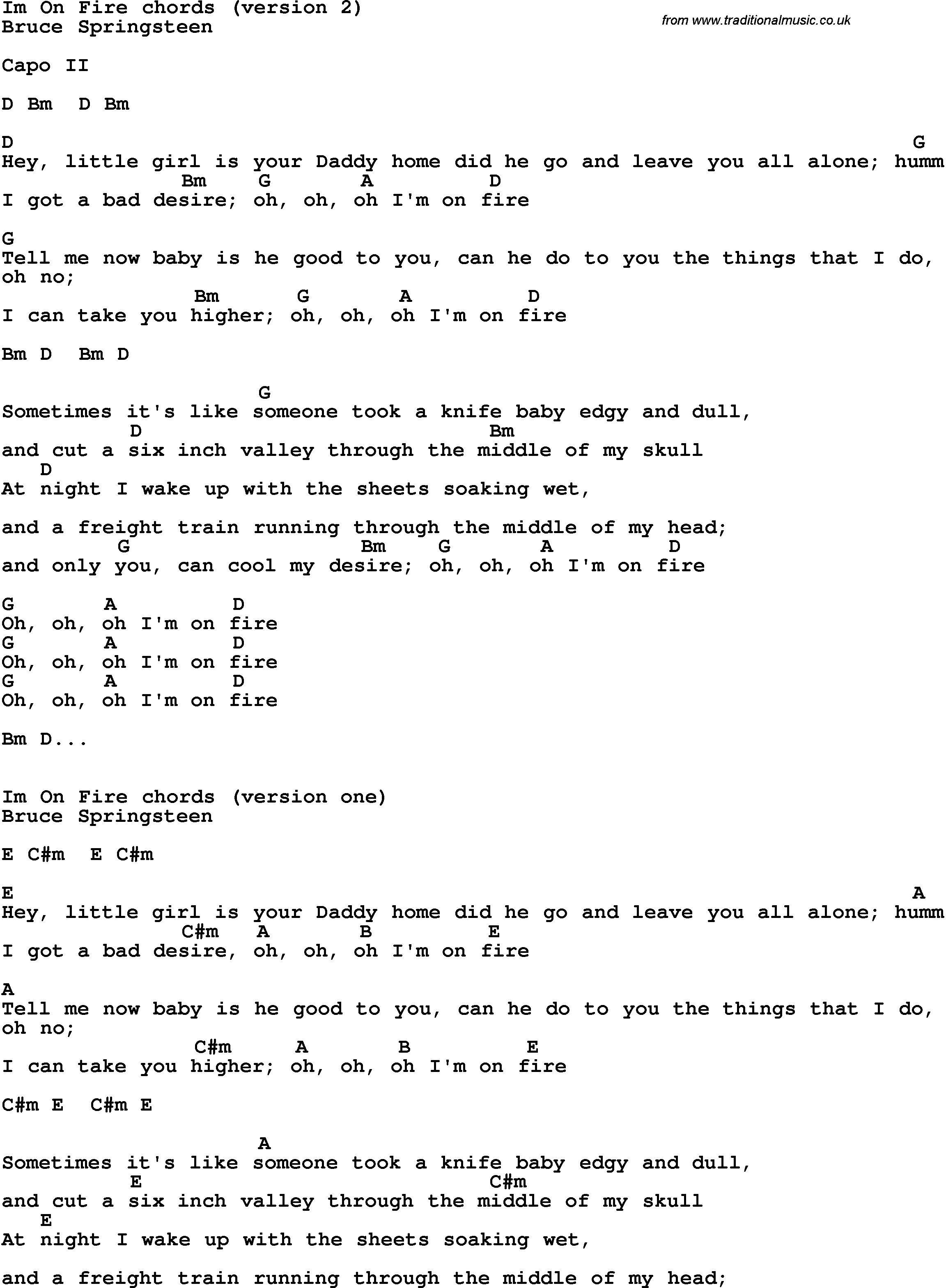 Song Lyrics With Guitar Chords For Im On Fire Bruce Springsteen