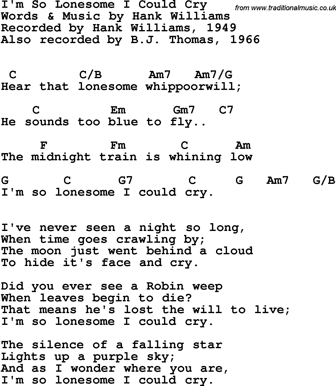 Song Lyrics With Guitar Chords For Im So Lonesome I Could Cry