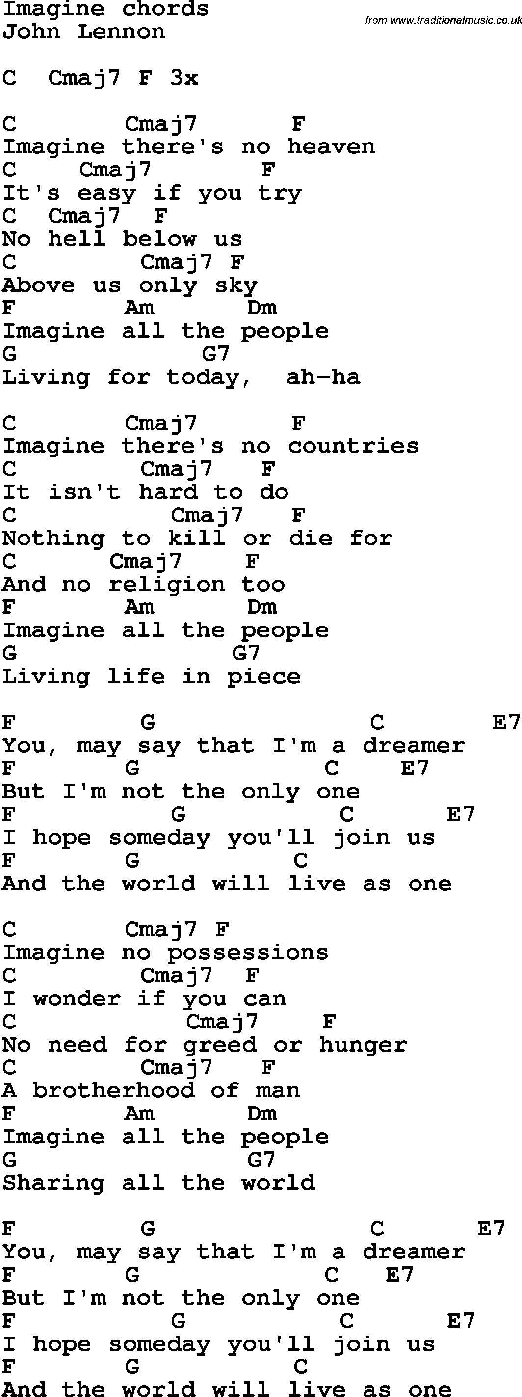 Song lyrics with guitar chords for Imagine - John Lennon