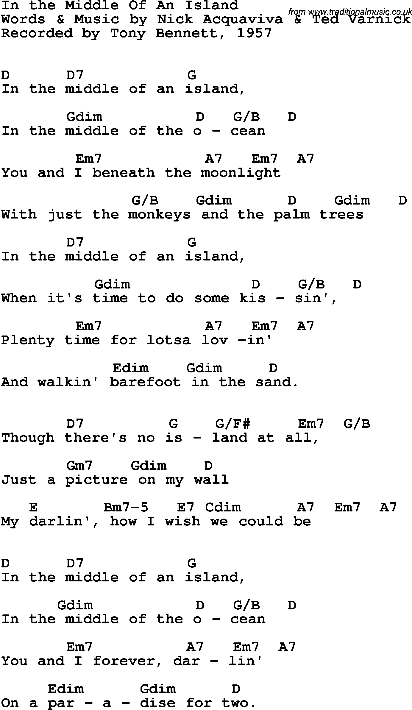 Song lyrics with guitar chords for In The Middle Of An Island ...