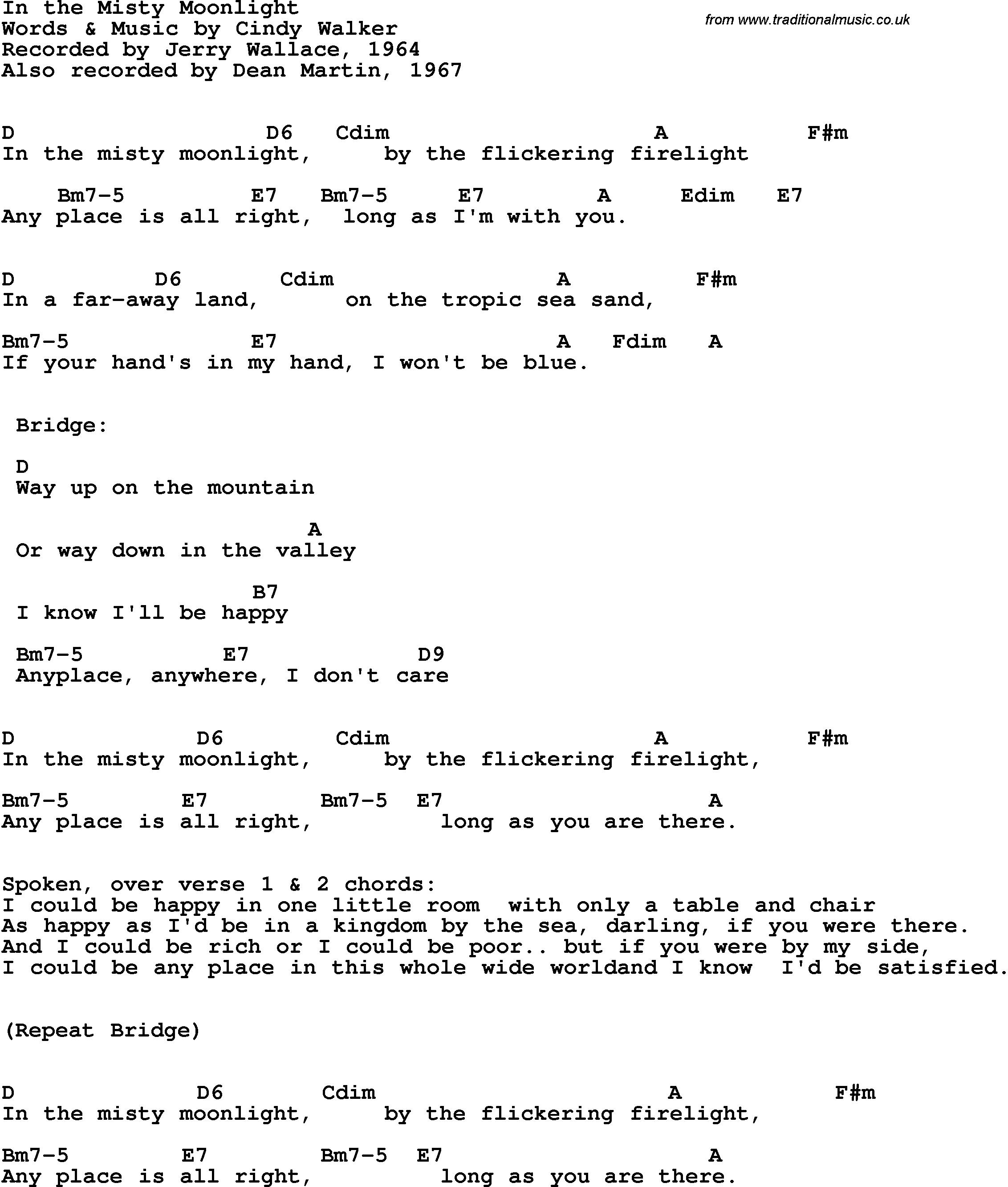 Song Lyrics With Guitar Chords For In The Misty Moonlight Jerry