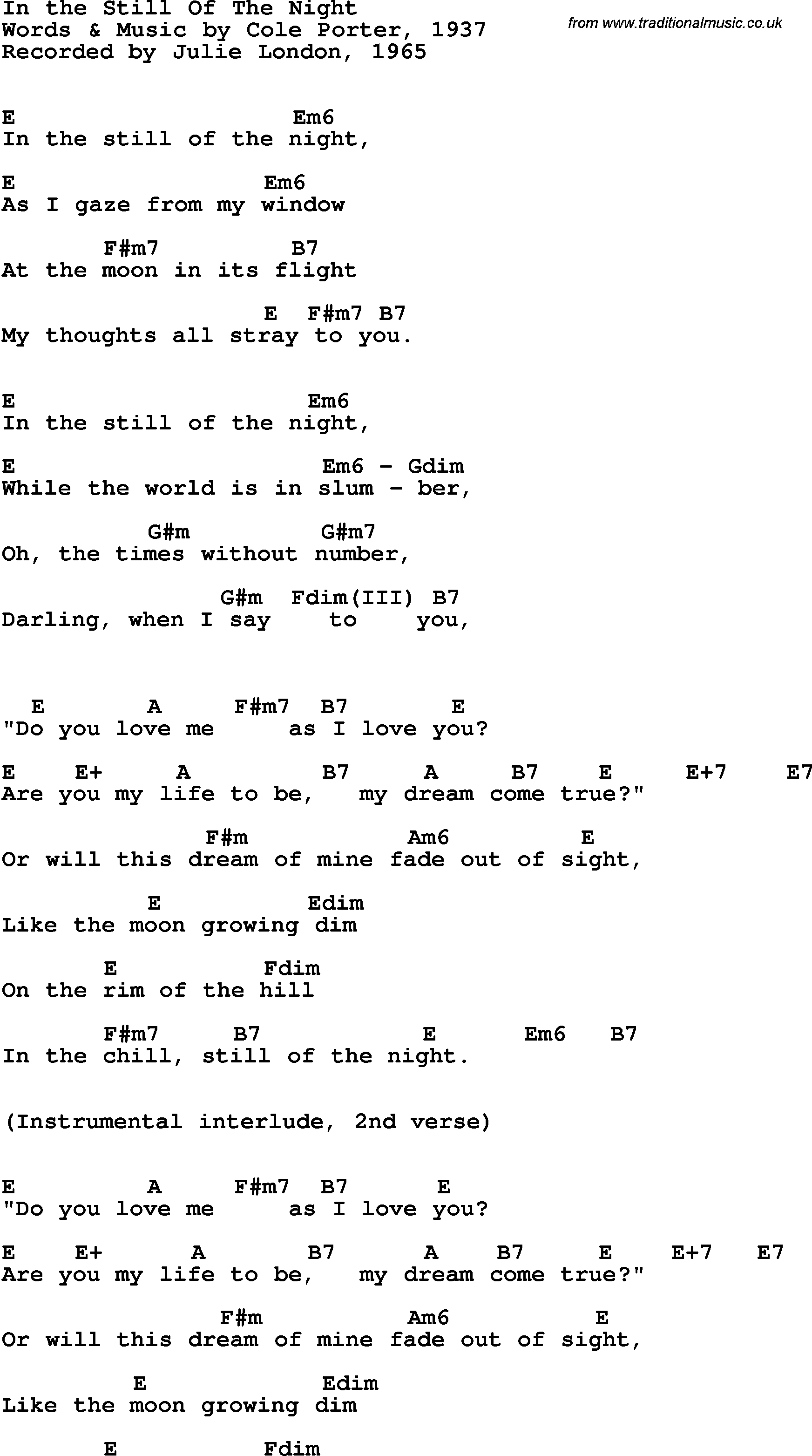 Song lyrics with guitar chords for in the still of the night song lyrics with guitar chords for in the still of the night julie london hexwebz Image collections