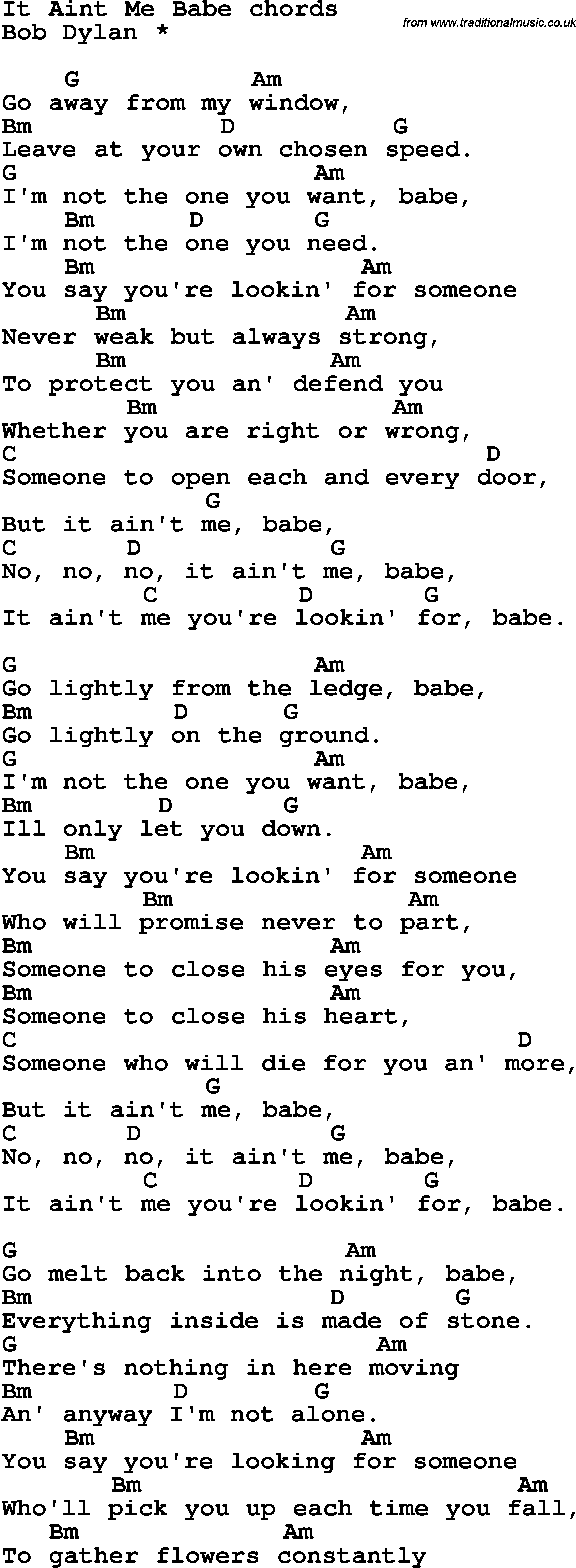 Song Lyrics With Guitar Chords For It Aint Me Babe