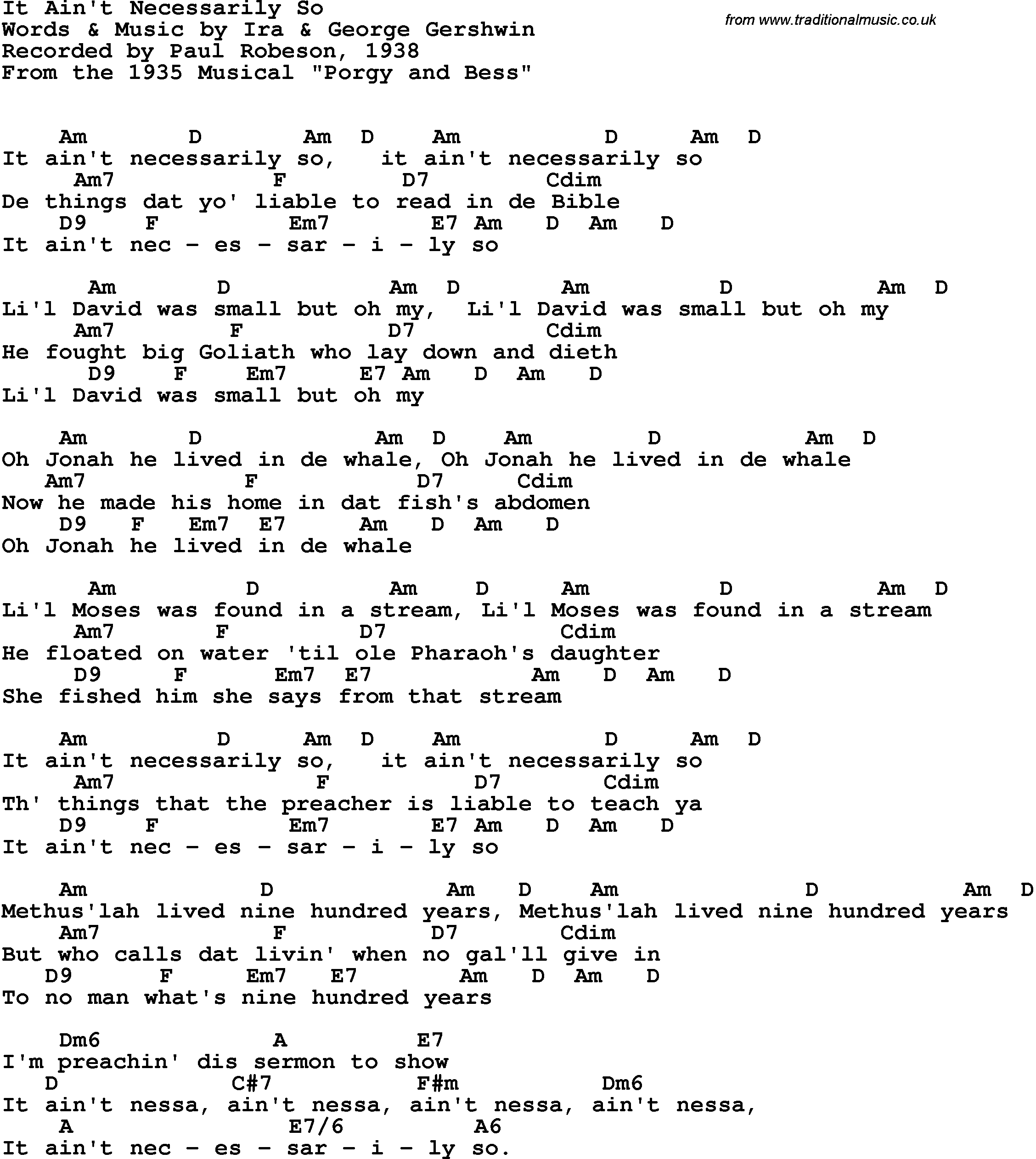 Song Lyrics With Guitar Chords For It Aint Necessarily So Paul