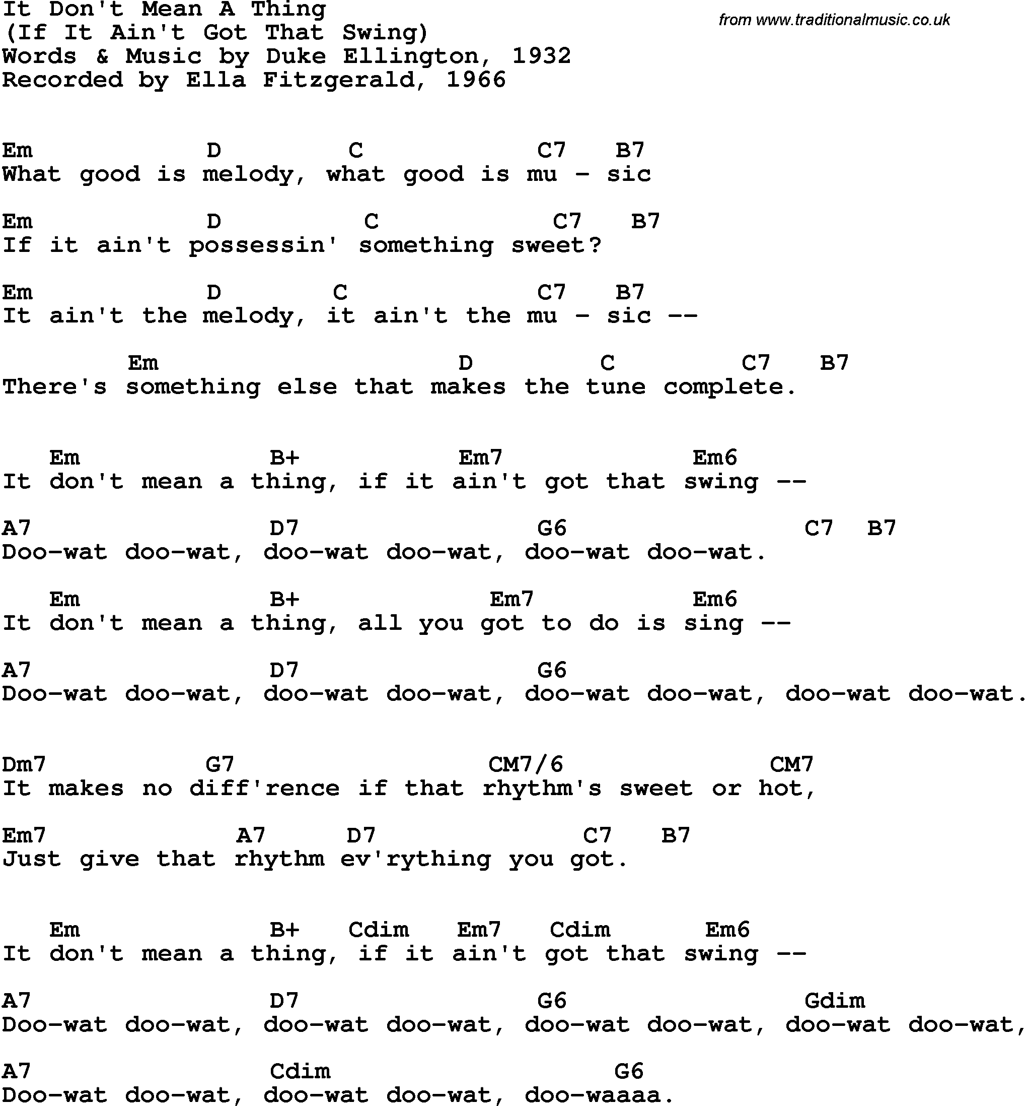 Song Lyrics With Guitar Chords For It Dont Mean A Thing Ella