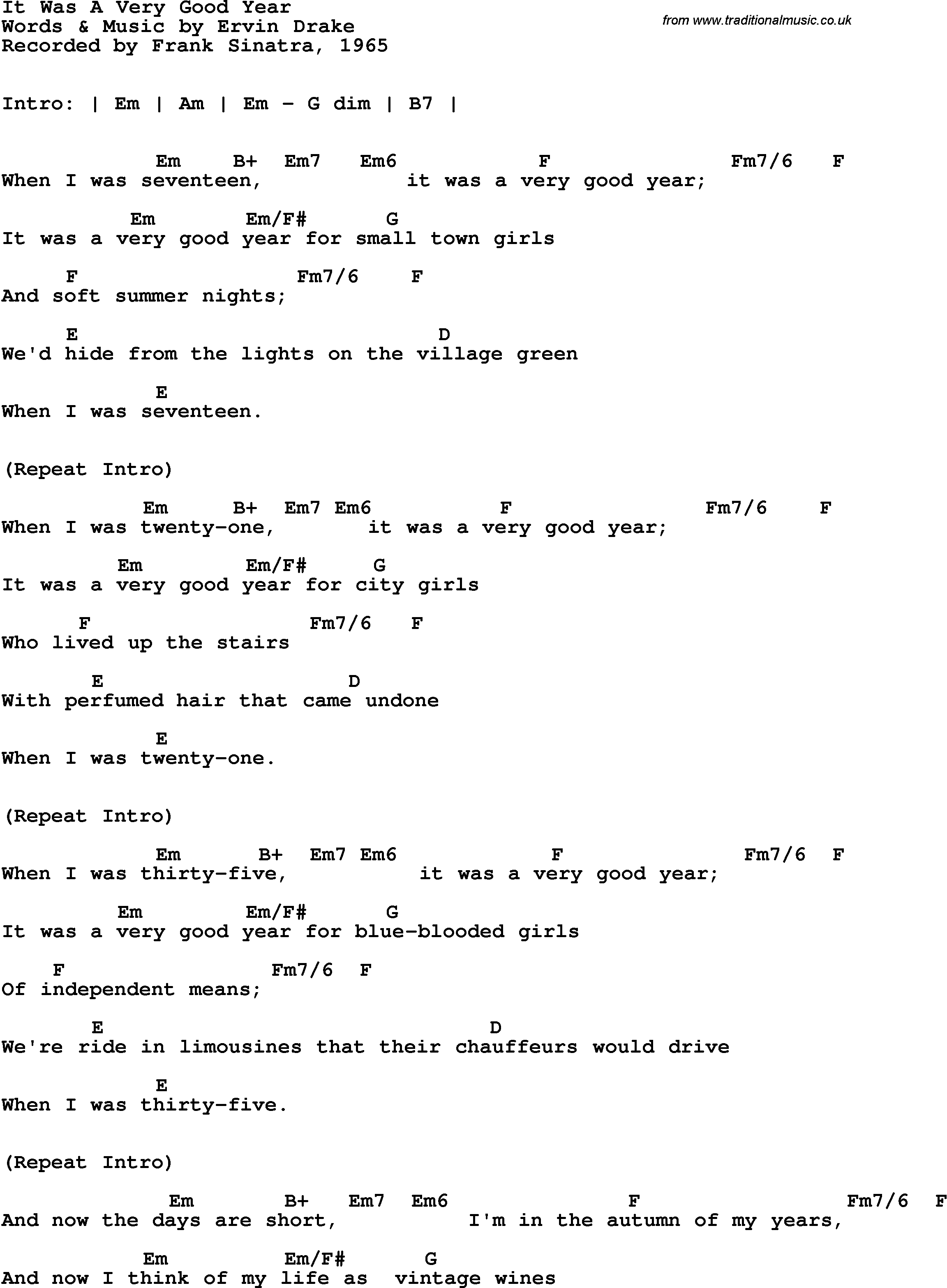Song Lyrics With Guitar Chords For It Was A Very Good Year Frank