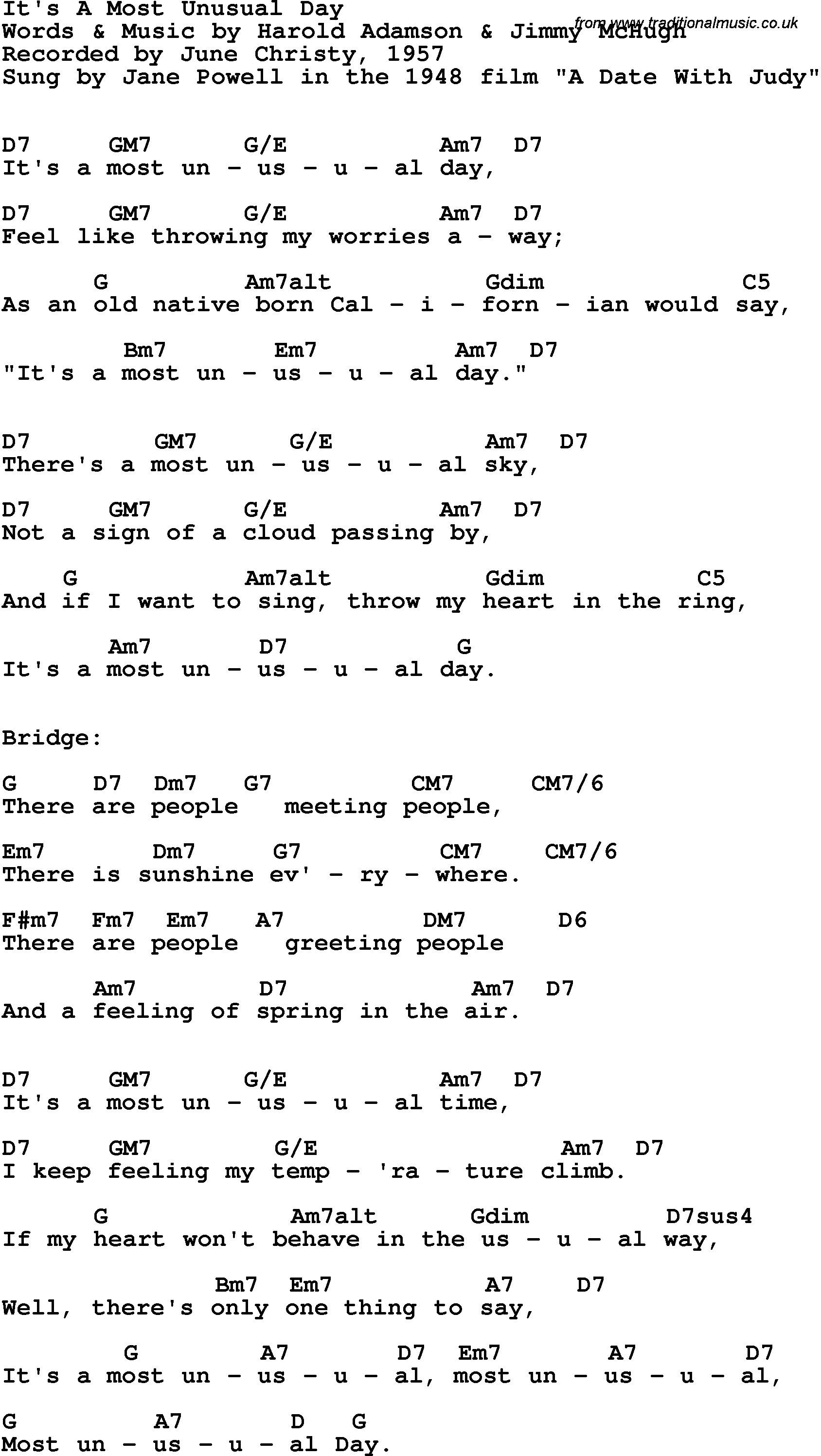 Song Lyrics With Guitar Chords For Its A Most Unusual Day June