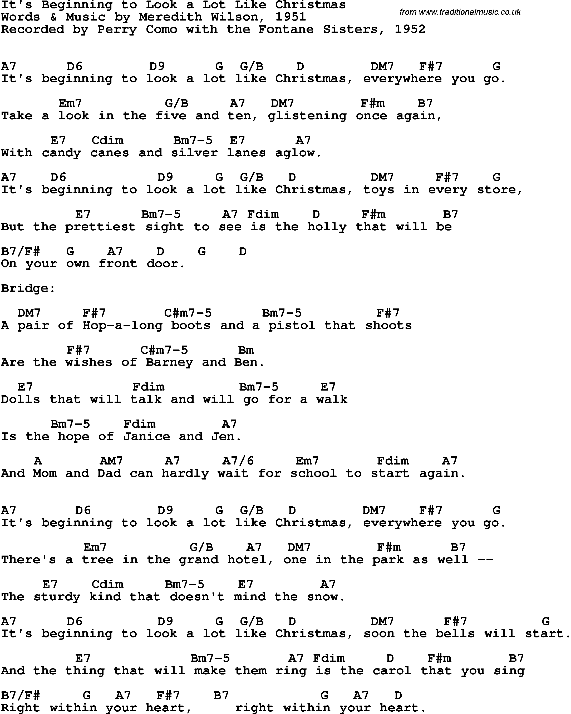 Song lyrics with guitar chords for It\'s Beginning To Look A Lot Like ...