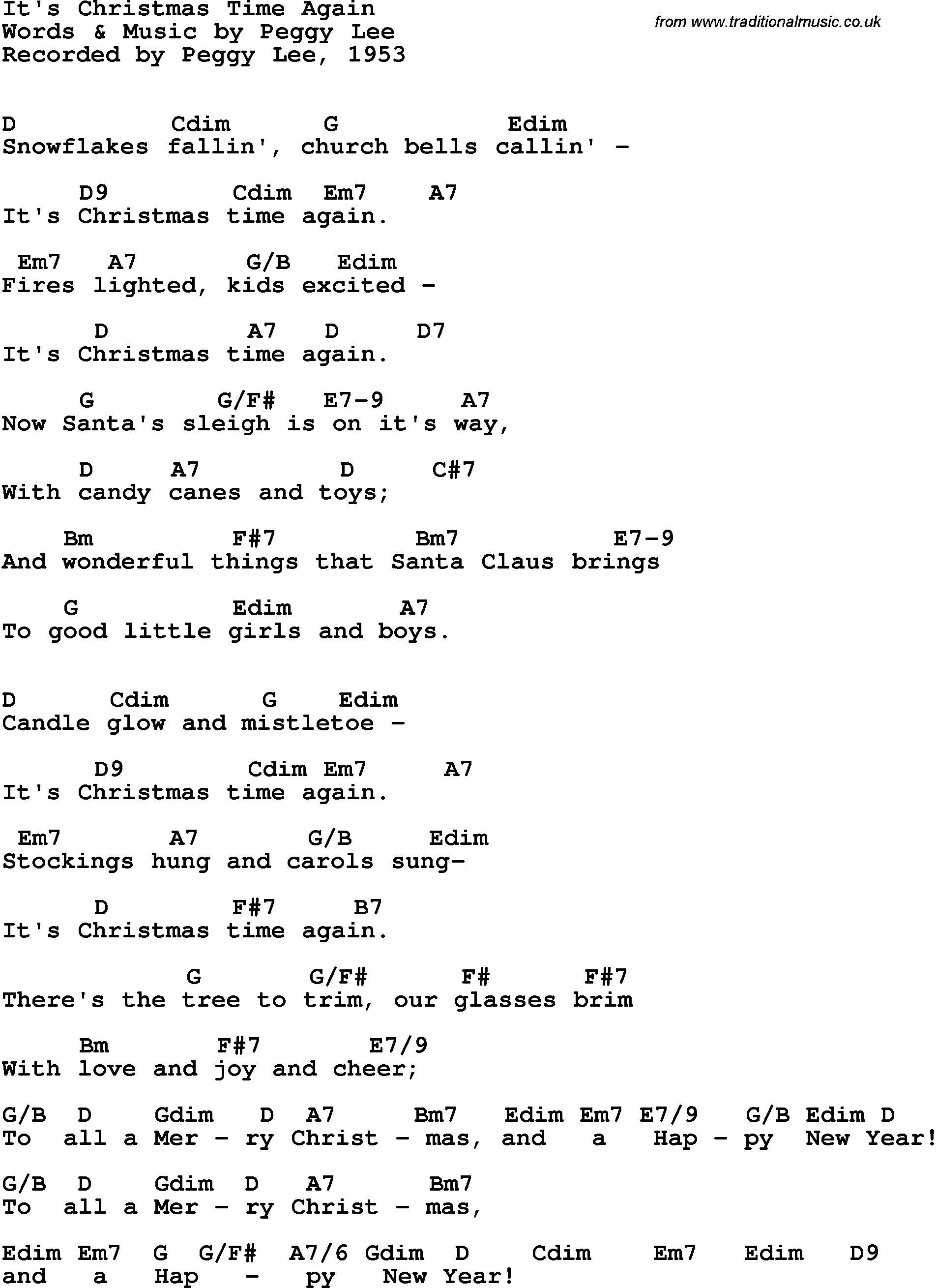 Song lyrics with guitar chords for It\'s Christmas Time Again - Peggy ...