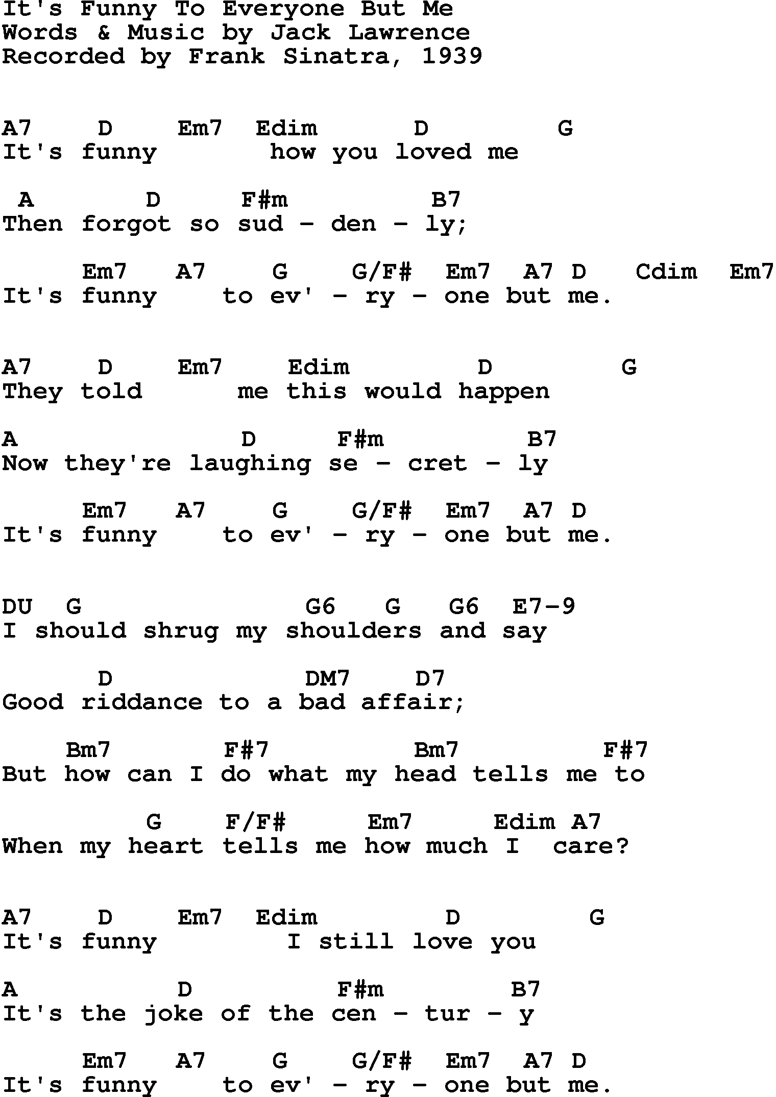 Song Lyrics With Guitar Chords For Funny Everyone But