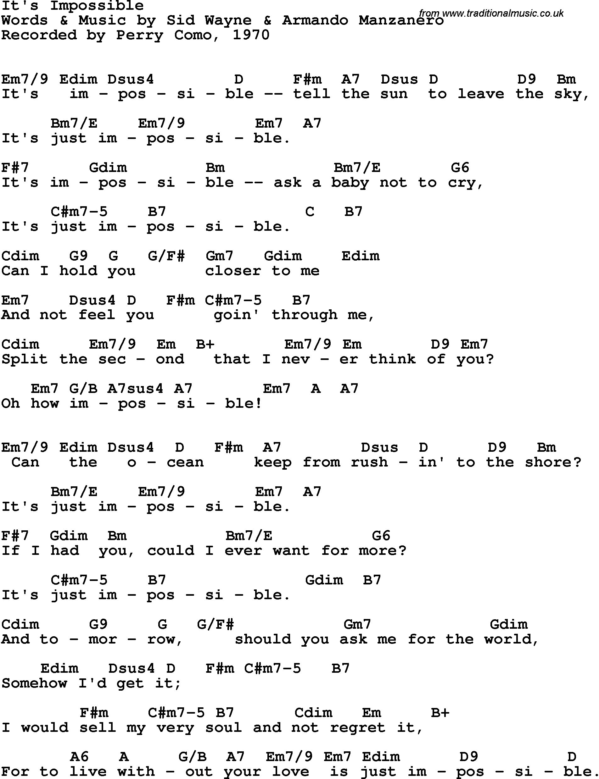 Song lyrics with guitar chords for its impossible perry como 1970 song lyrics with guitar chords for its impossible perry como 1970 hexwebz Images