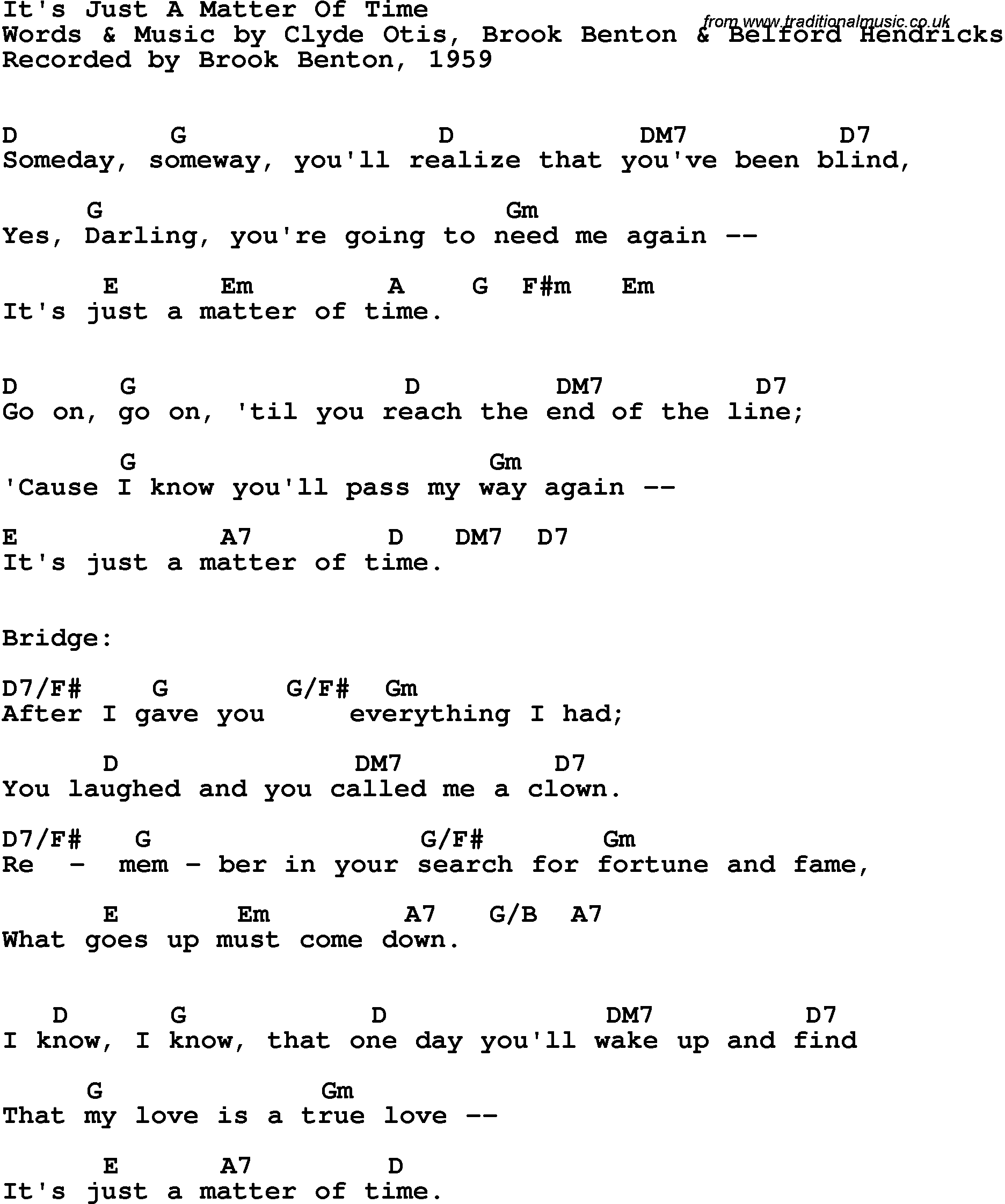 Song Lyrics With Guitar Chords For Its Just A Matter Of Time
